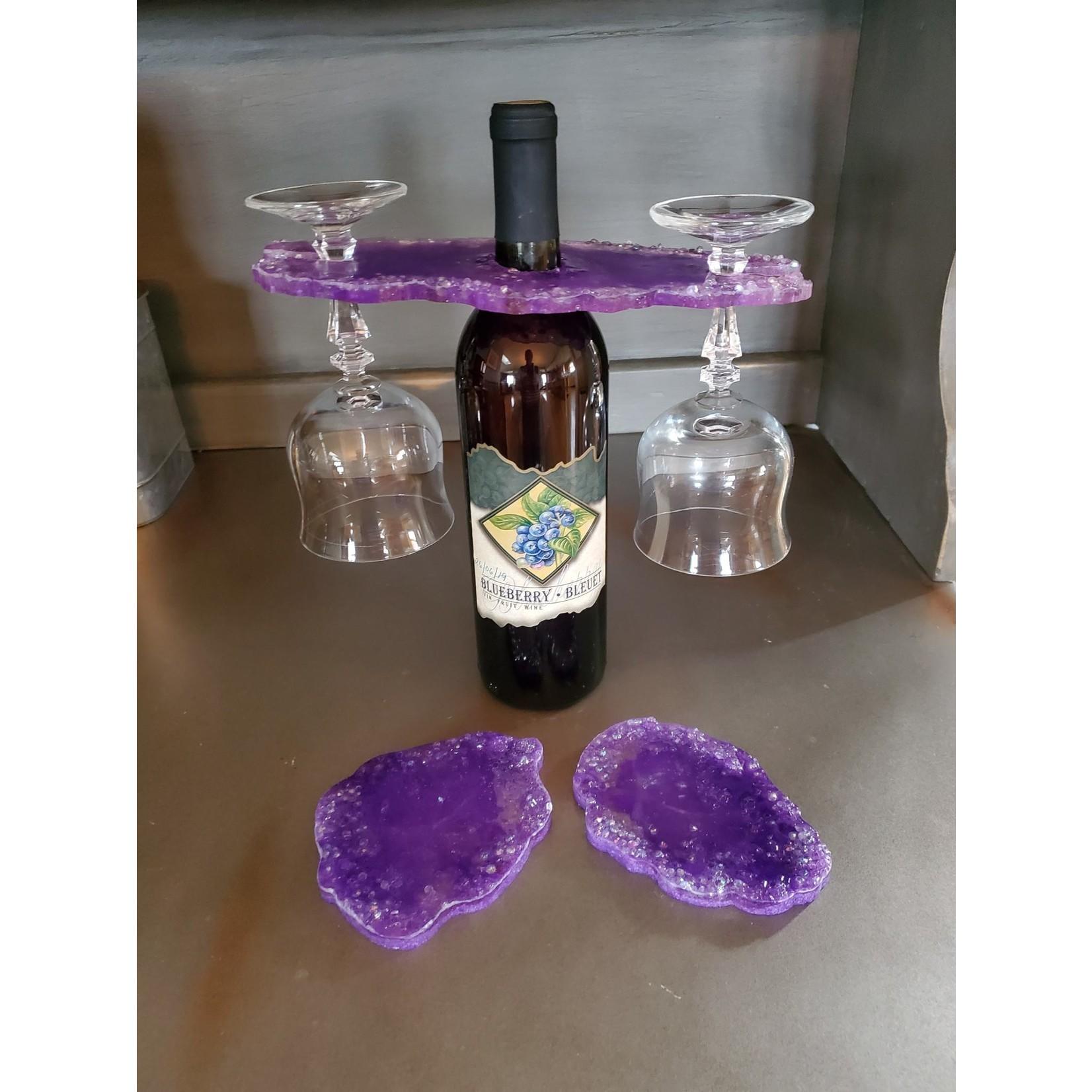 East Coast Sirens Purple Wine Butler & Coaster Set