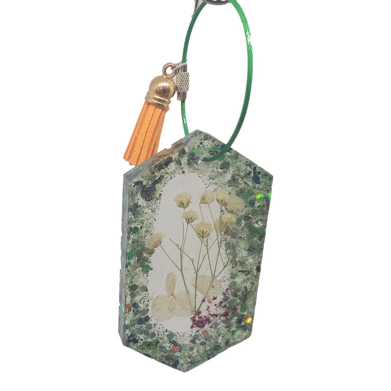 East Coast Sirens Dried Flowers Set In Key Chain/Luggage Tag
