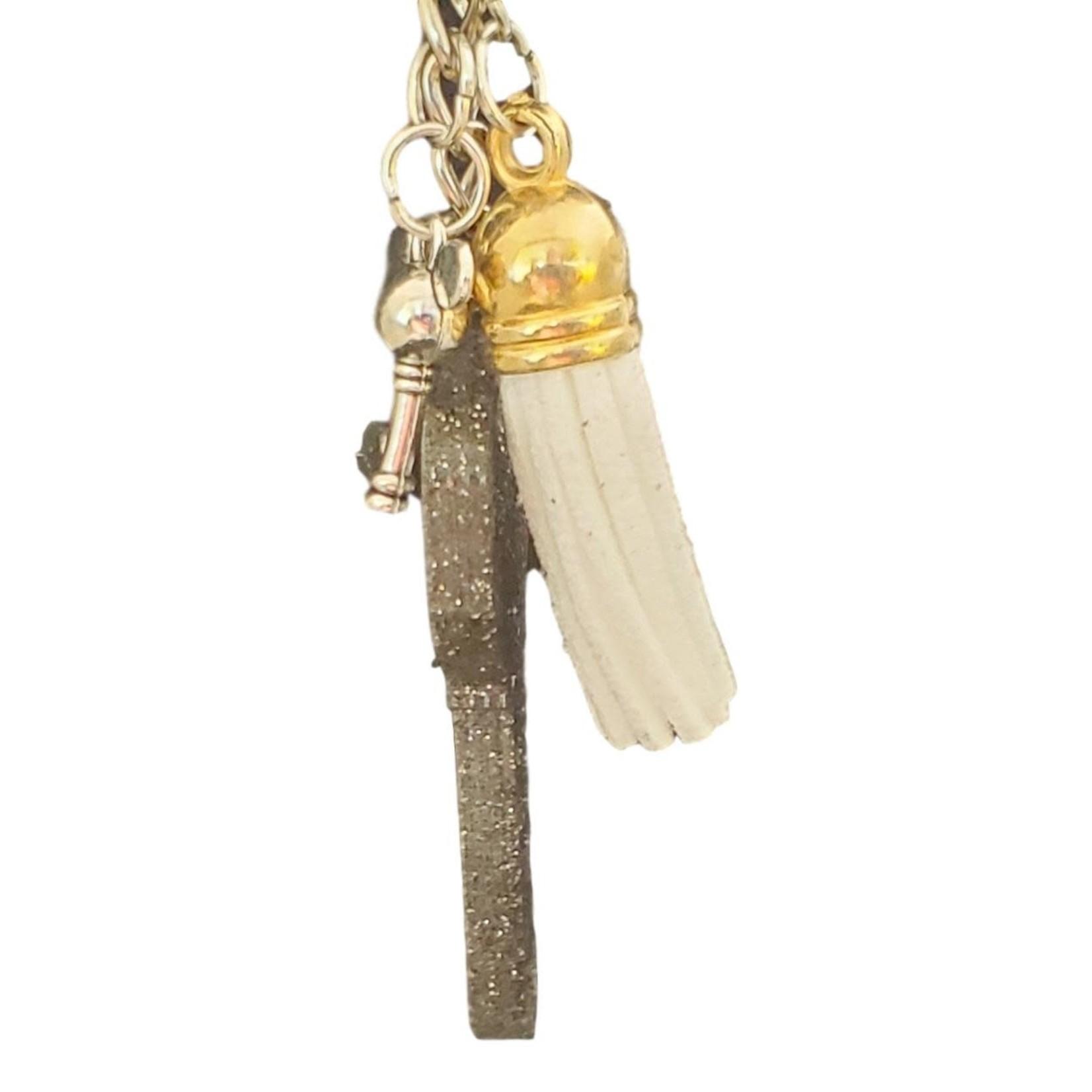 East Coast Sirens Black Glitter Key with Charms Key Chain