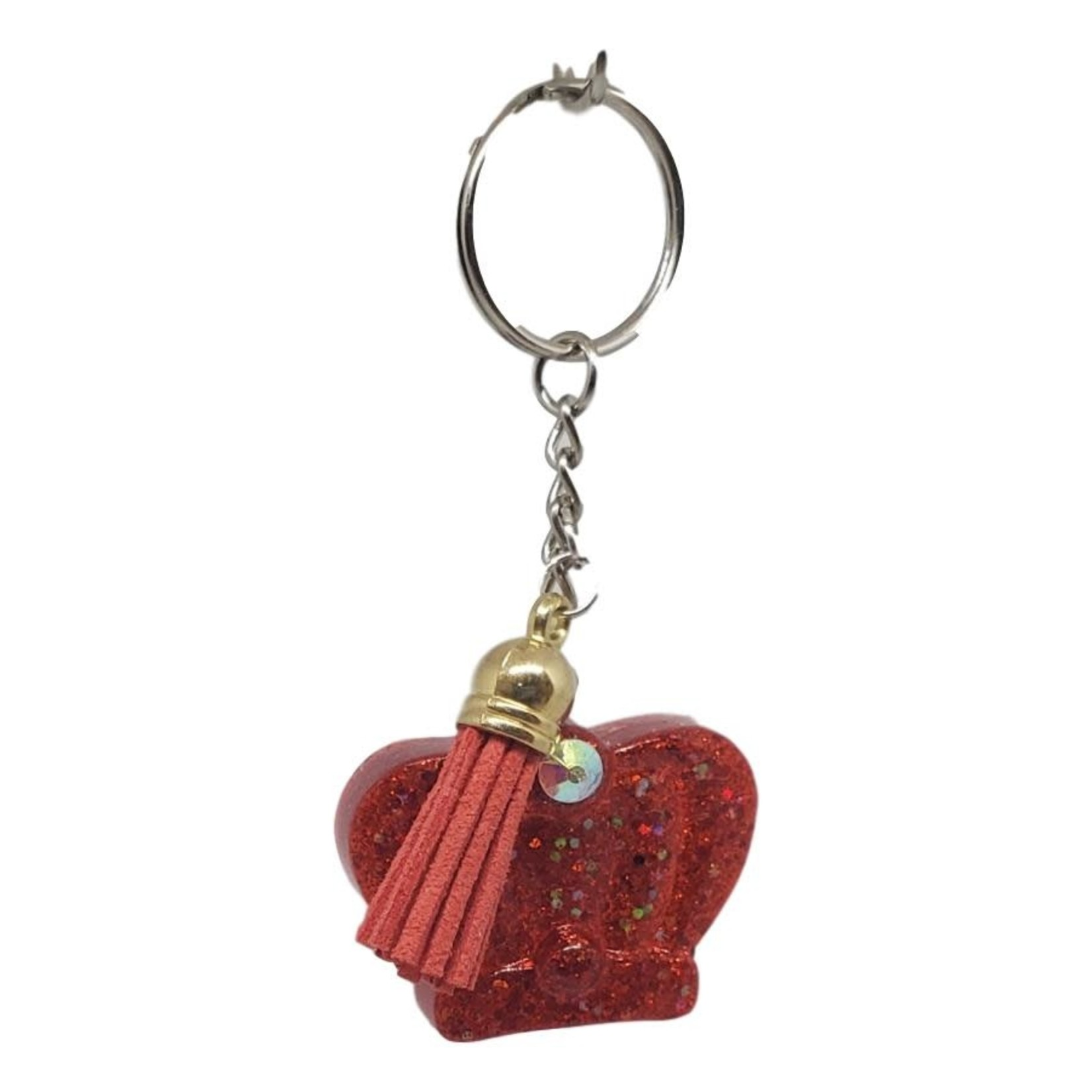East Coast Sirens Red Crown Key Chain with Tassel Charm