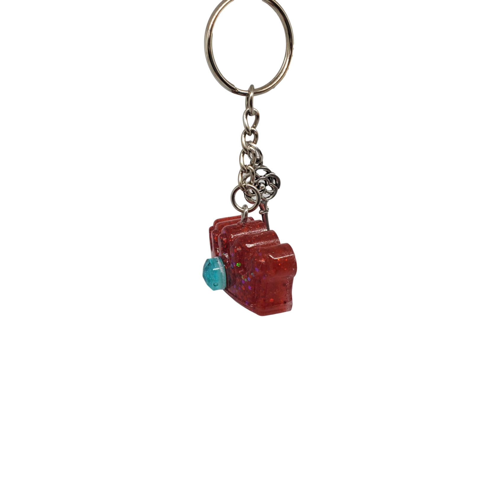 East Coast Sirens Red Glitter Small Crown Key Chain with Silver Charm