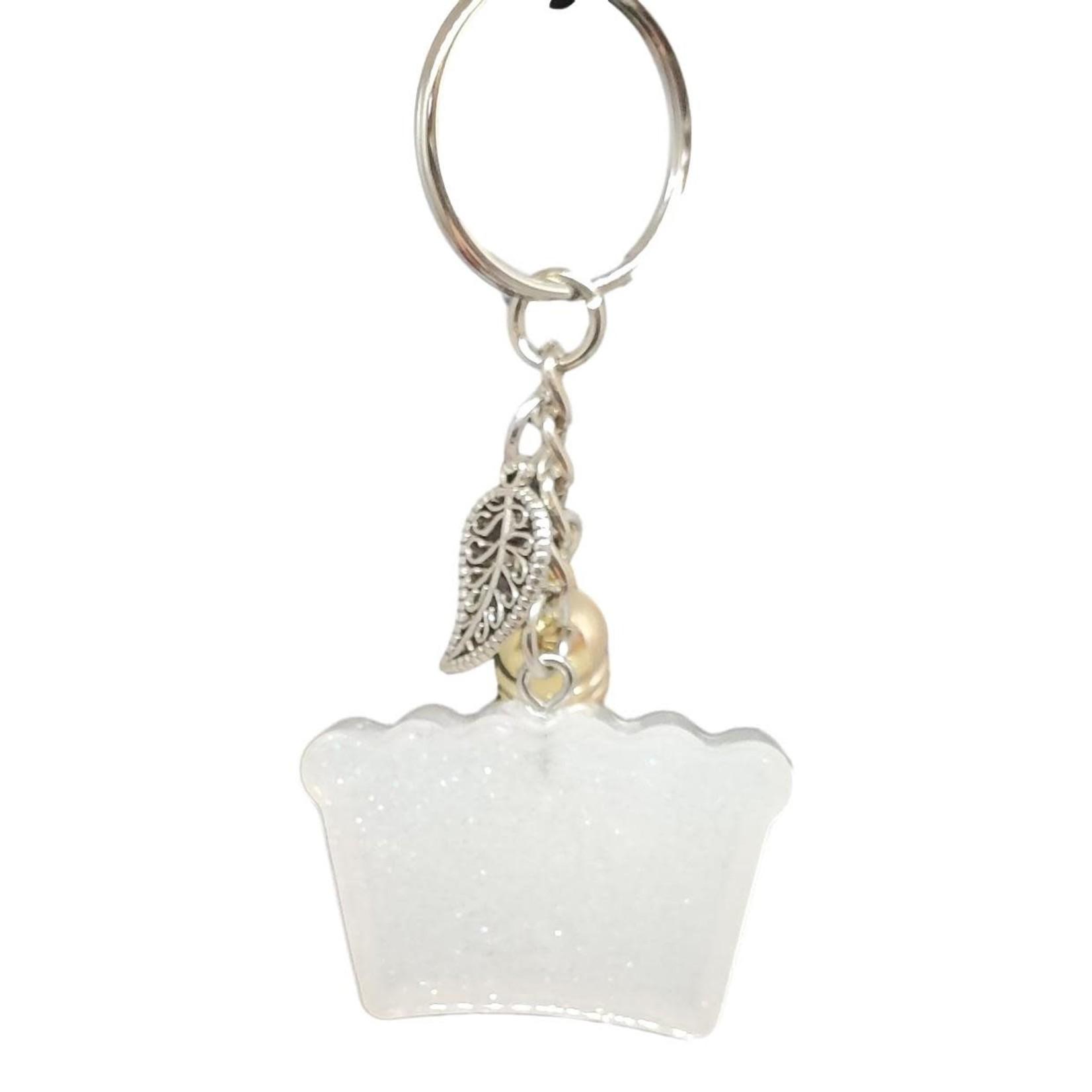 East Coast Sirens White Glitter Crown Key Chain with Tassel Charm