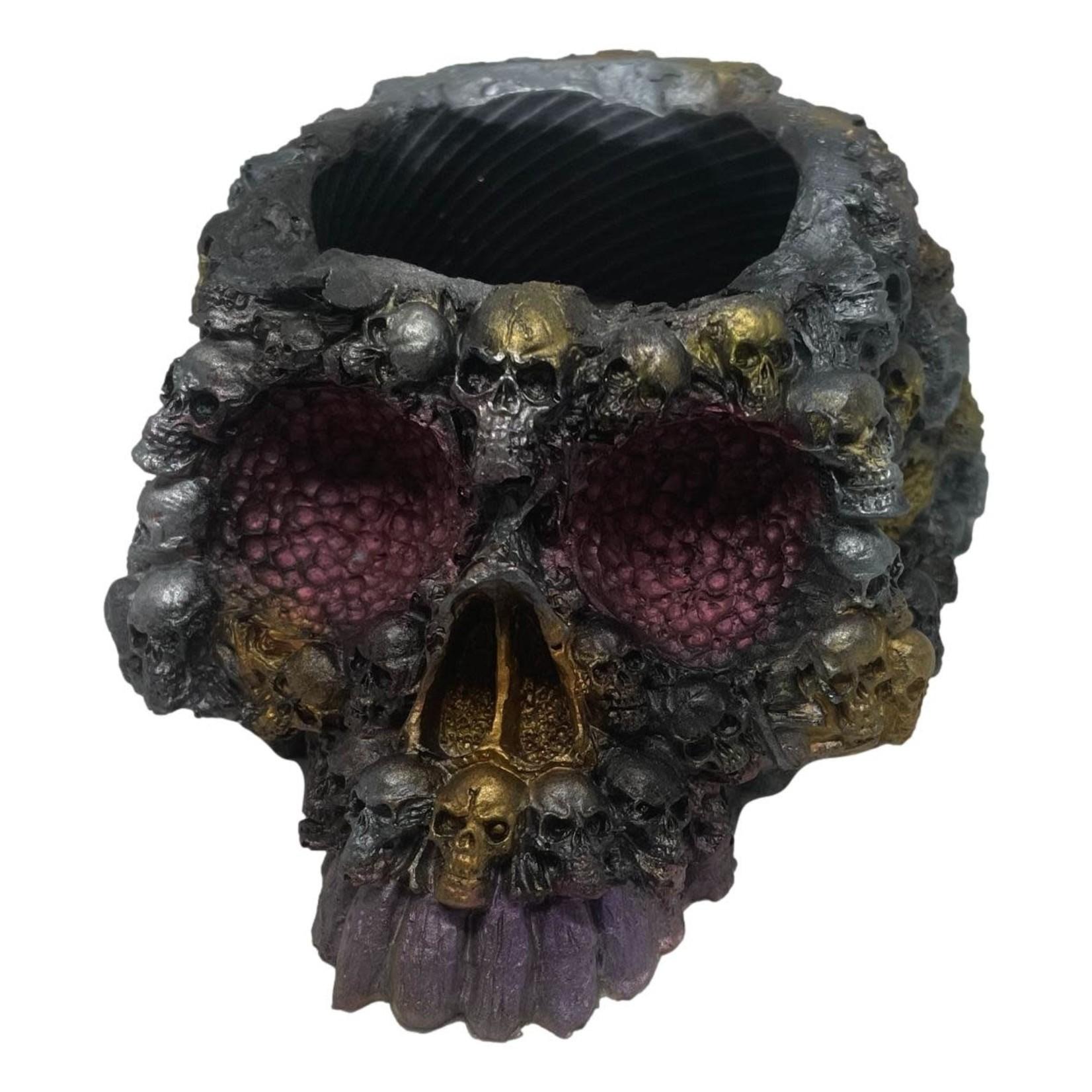 East Coast Sirens Skull Planter in Black, Silver & Gold