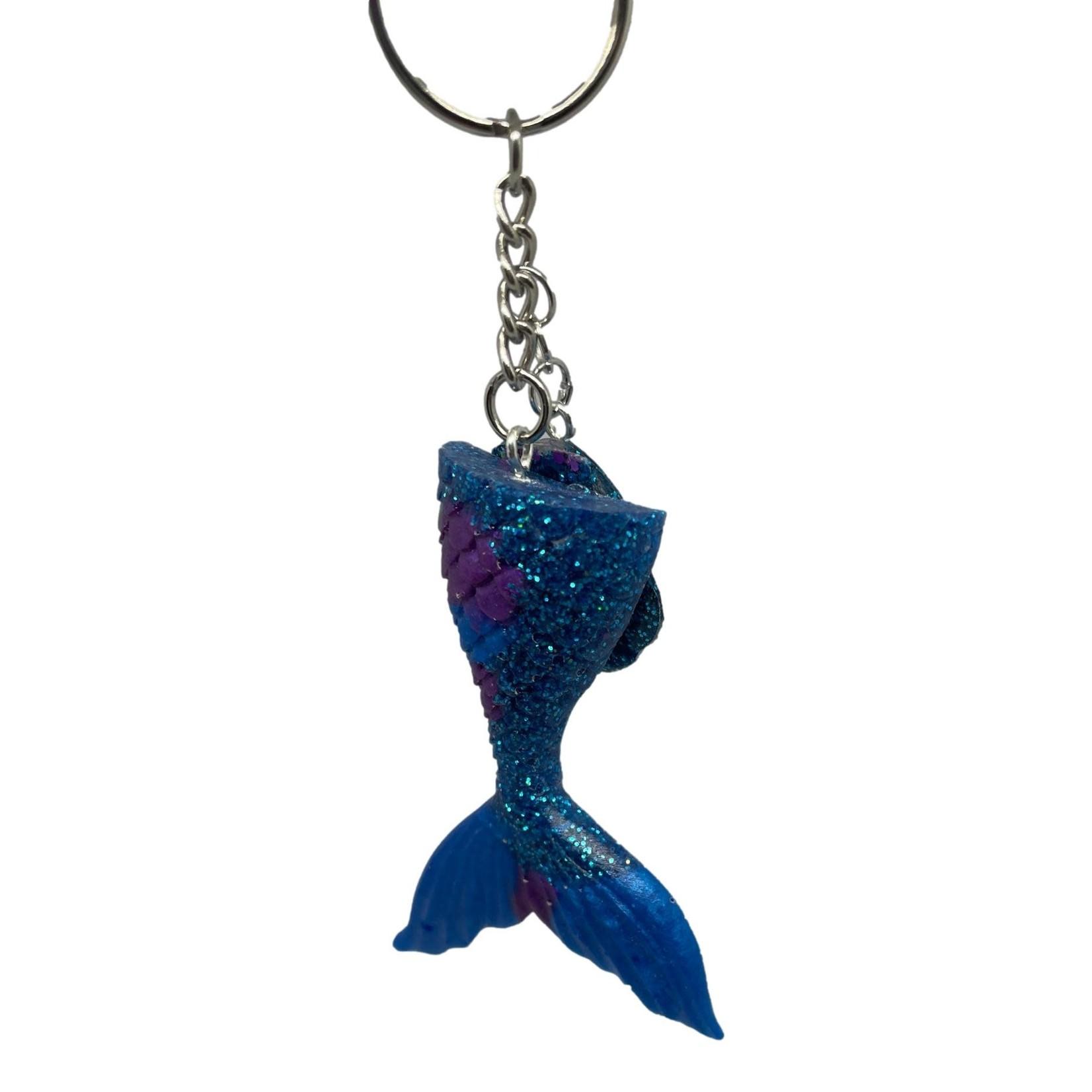 East Coast Sirens Rich Blue Mermaid Tail Key Chain