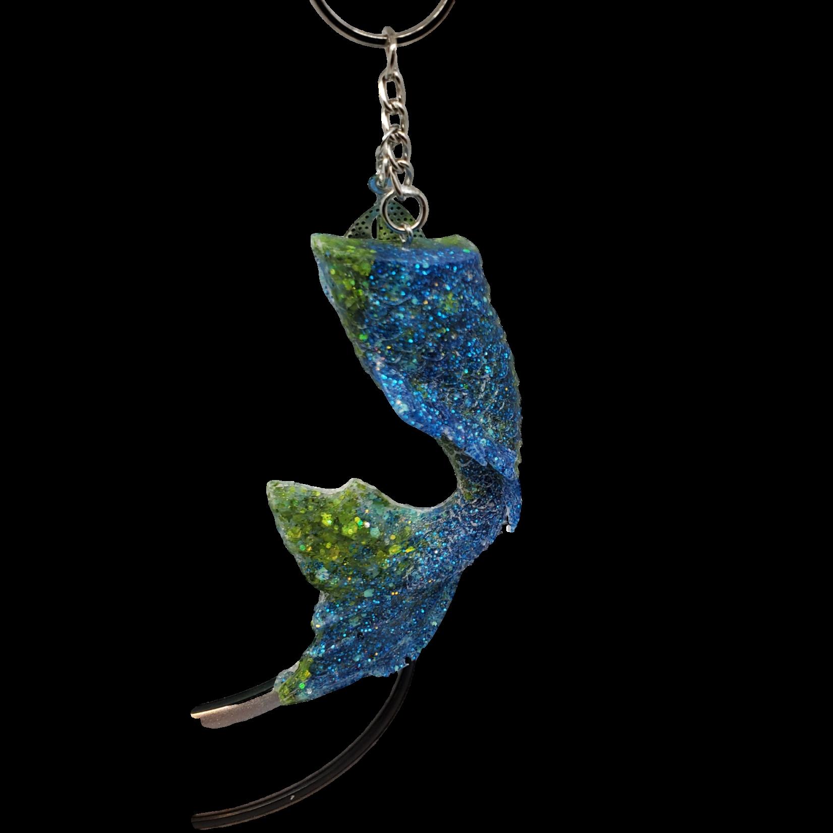 East Coast Sirens Large Blue & Green Glitter - Mermaid Curved Tail Key Chain