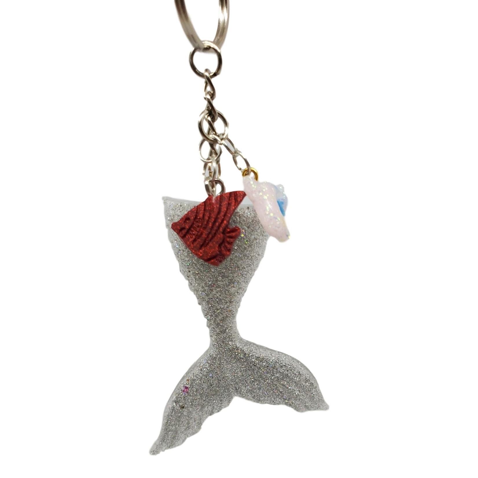East Coast Sirens Sparkling Silver Glitter Mermaid Tail Key Chain - Medium