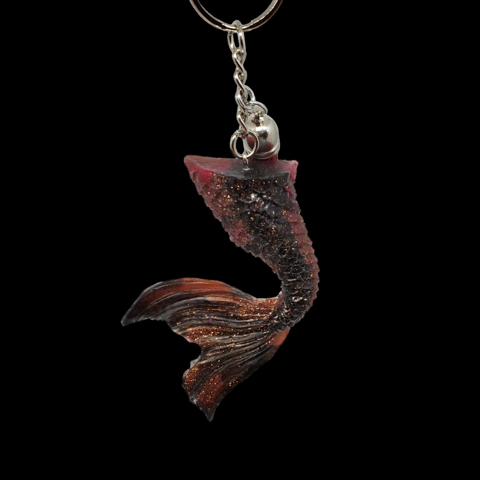 East Coast Sirens Black & Copper Glitter Mermaid Curved Tail Key Chain