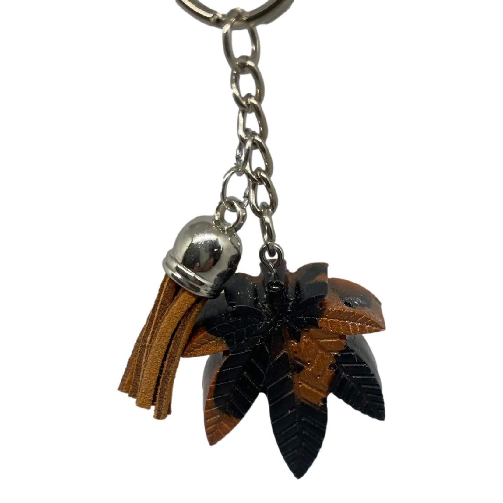 East Coast Sirens Black & Copper Pot Leaf Key Chain