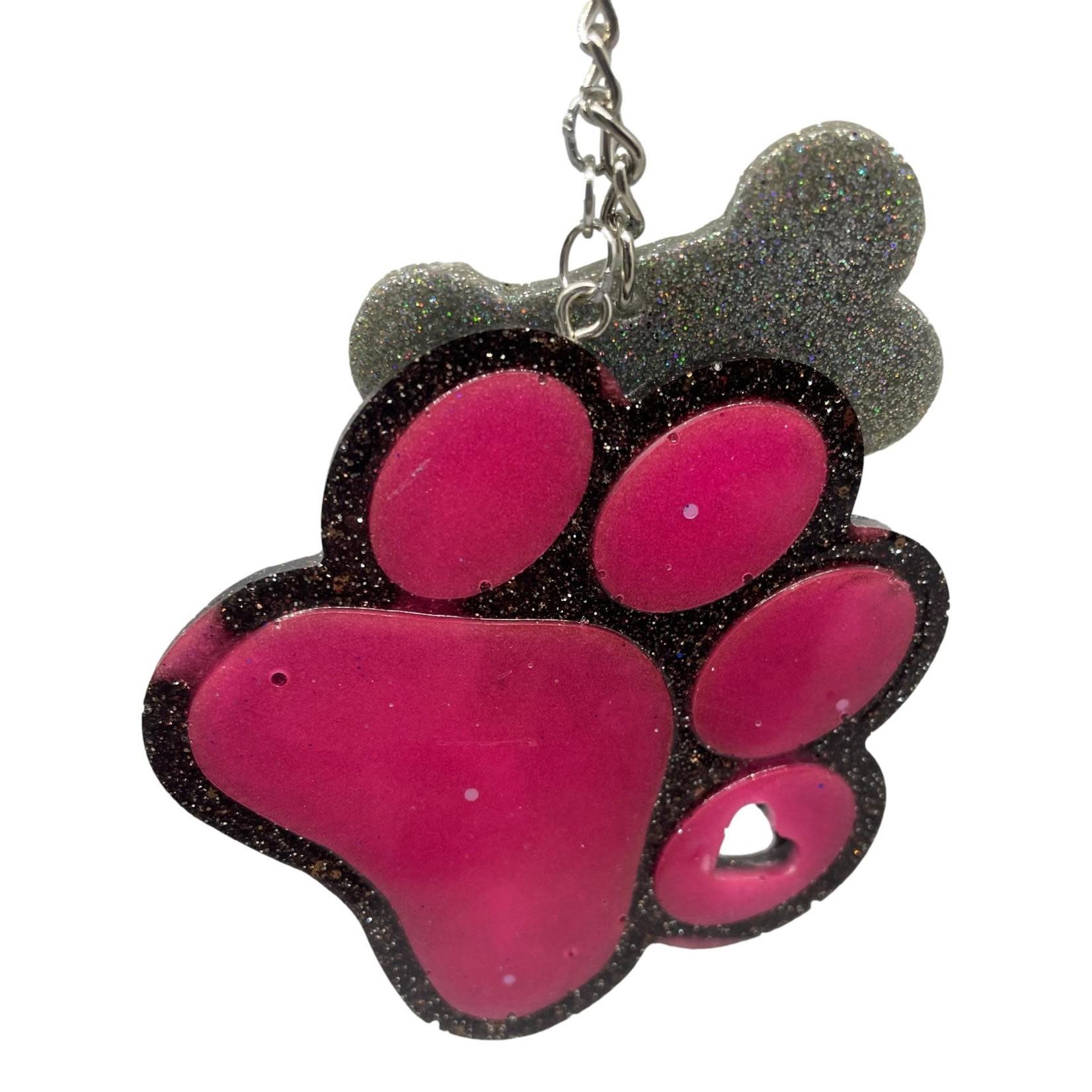 East Coast Sirens Brown & Pink Paw Print Key Chain Charm