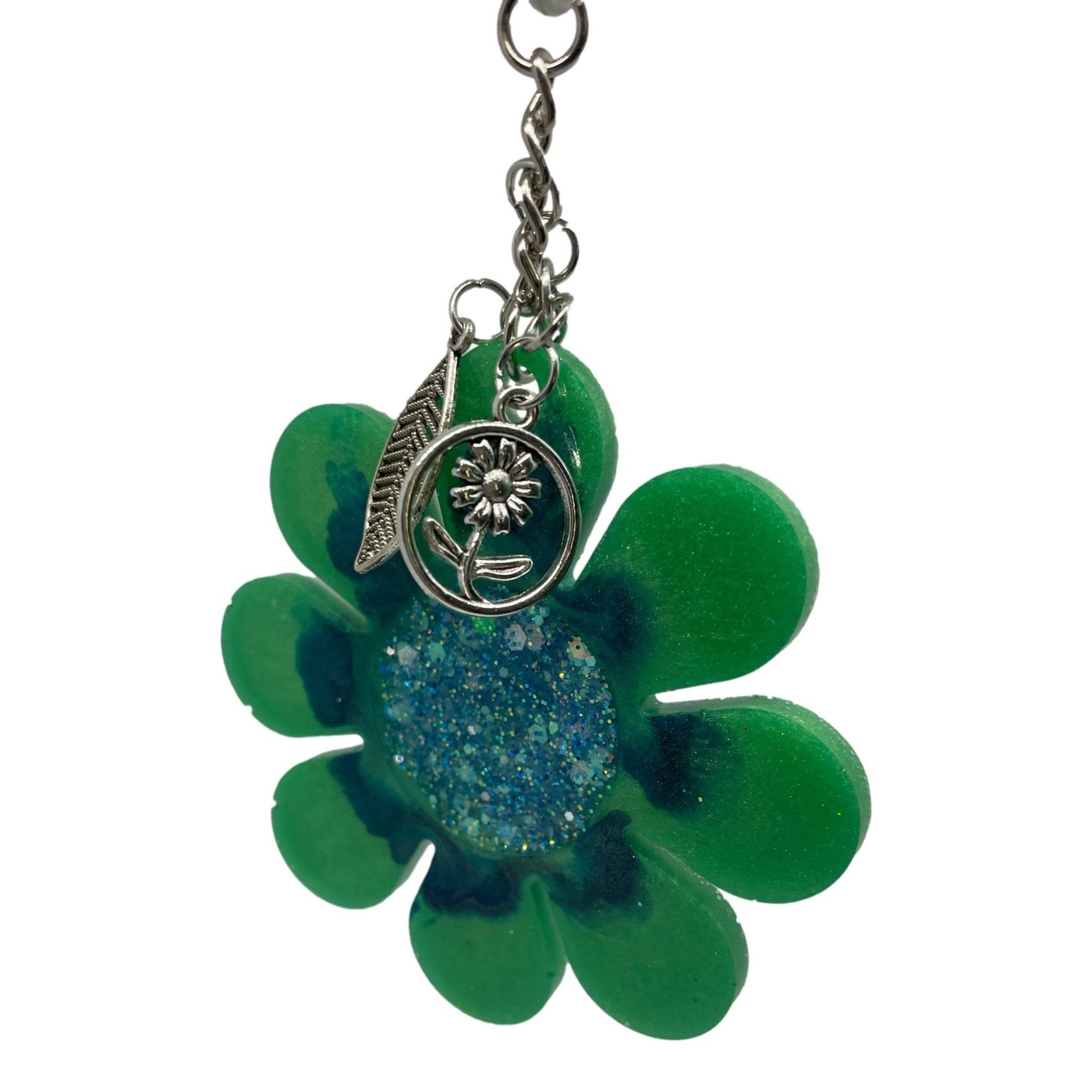 East Coast Sirens Green Flower Key Chain