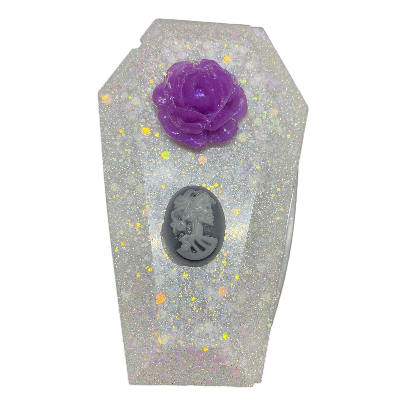 East Coast Sirens White Glitter Coffin Trinket Box