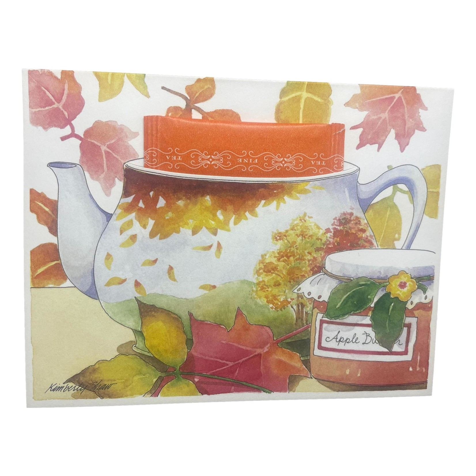 Kimberly Shaw Fall Leaves Teapot Card