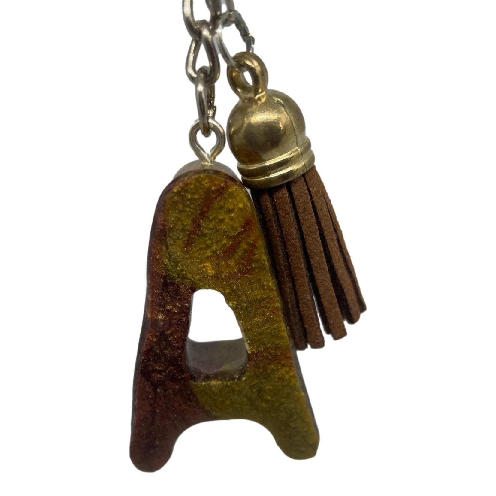 East Coast Sirens Dark Brown and Army Green Alphabet Key Chain