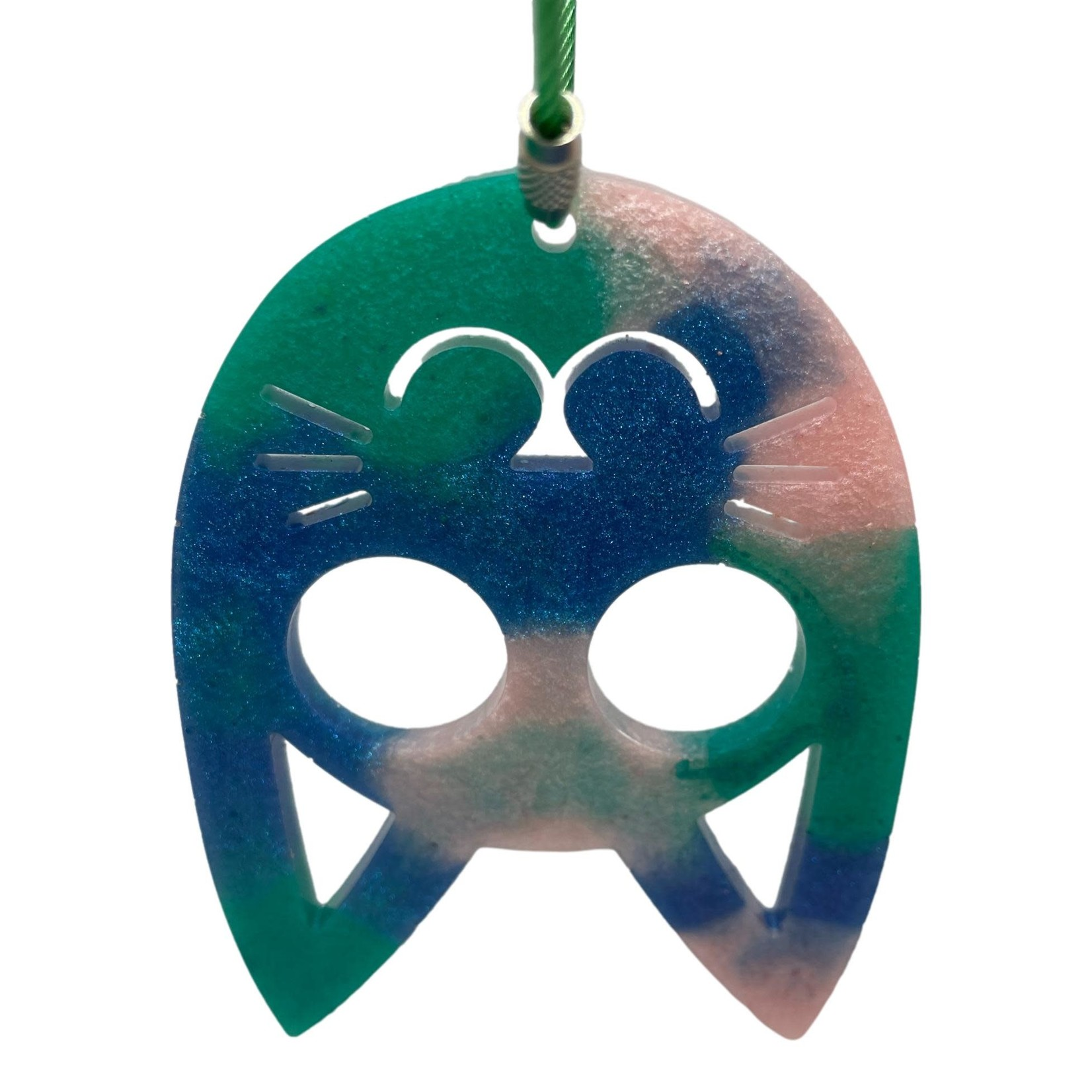 East Coast Sirens Blue, Green & Pink Pointy Cat Key Chain