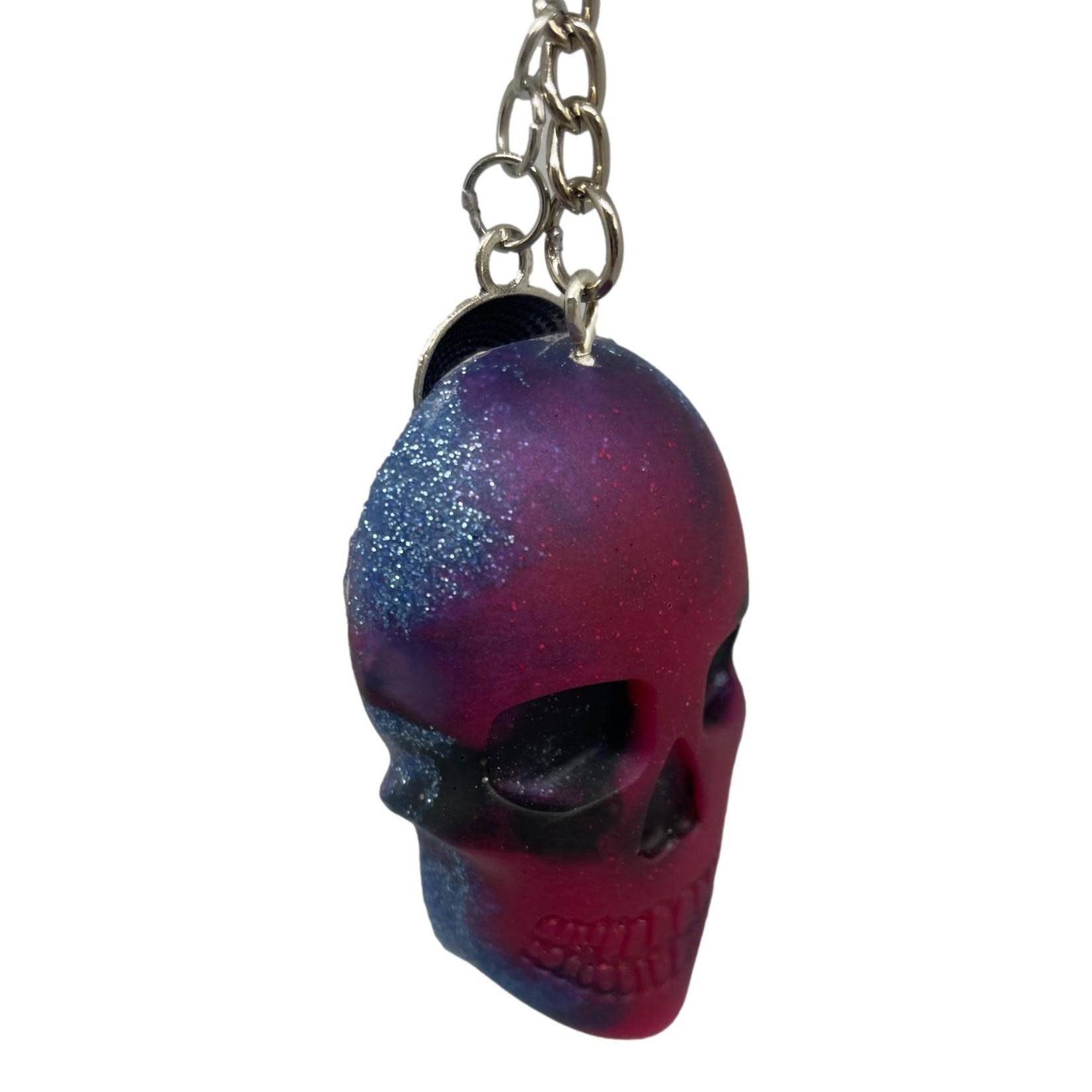 East Coast Sirens Deep Red & Blue Skull Keychain