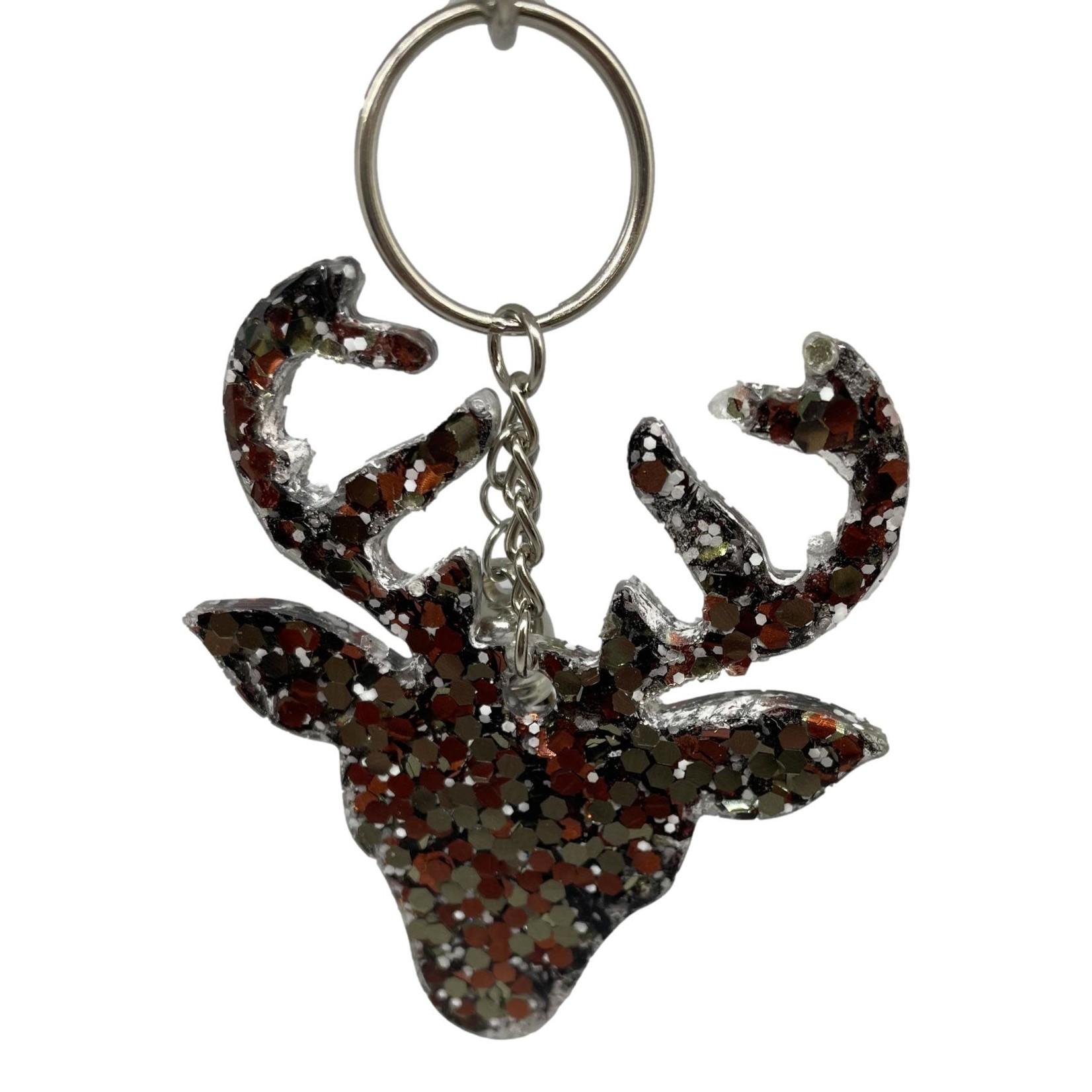 East Coast Sirens Brown Camo Glitter Deer Head Keychain