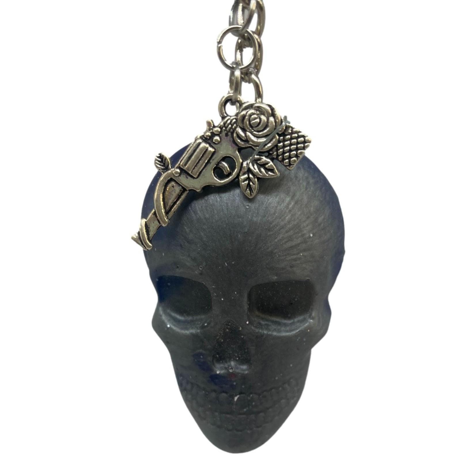 East Coast Sirens Grey & Blue Skull Keychain