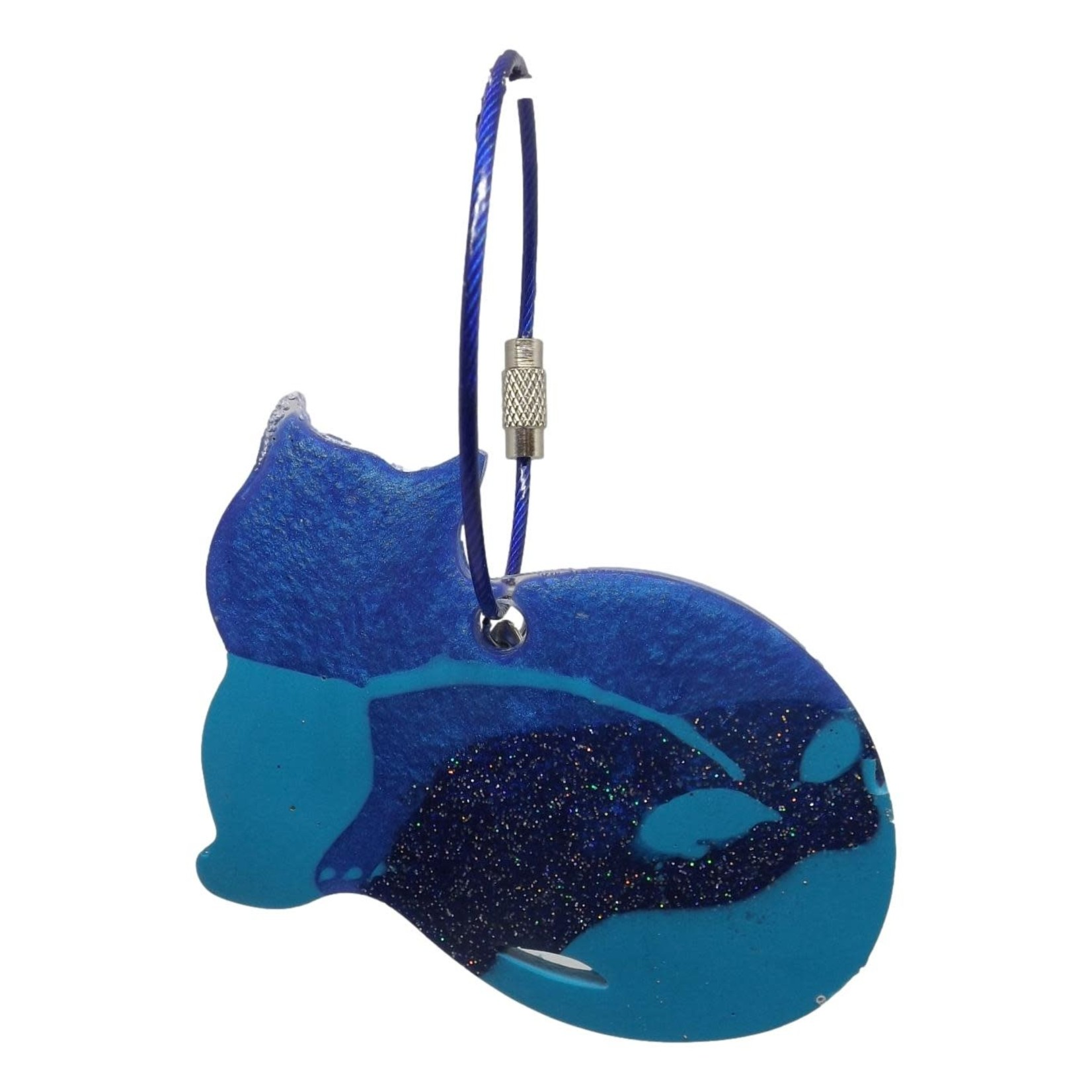 East Coast Sirens Two-Tone Blue Cat Keychain