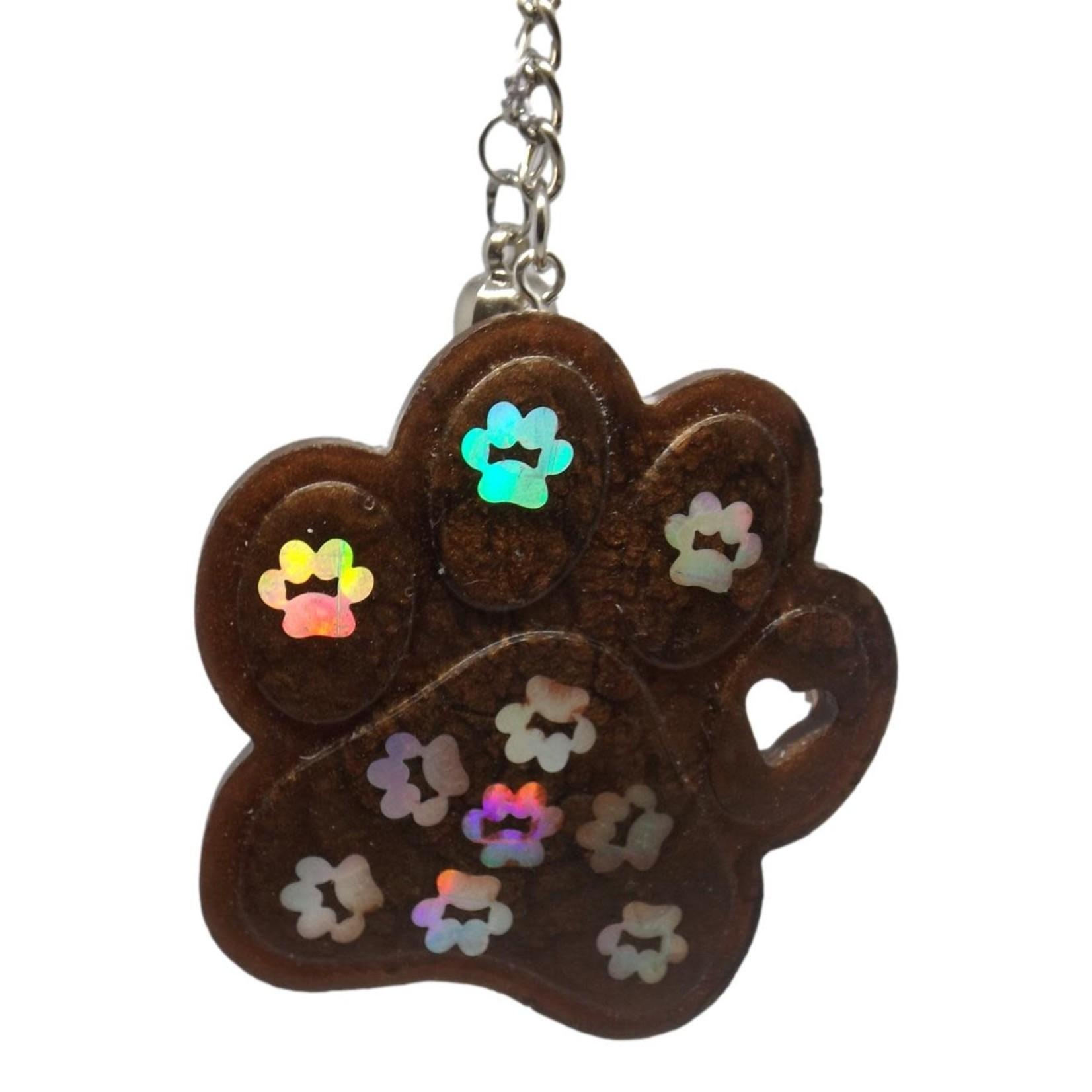 East Coast Sirens Chocolate Brown Pawprint Keychain
