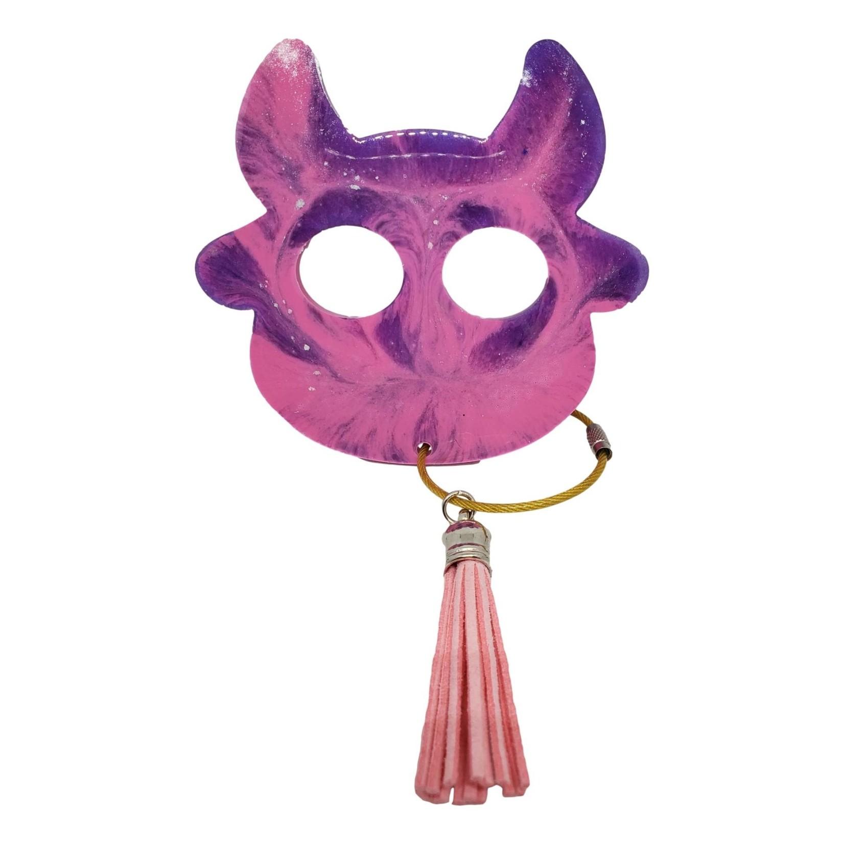 East Coast Sirens Pink & Purple Cow Keychain - Large