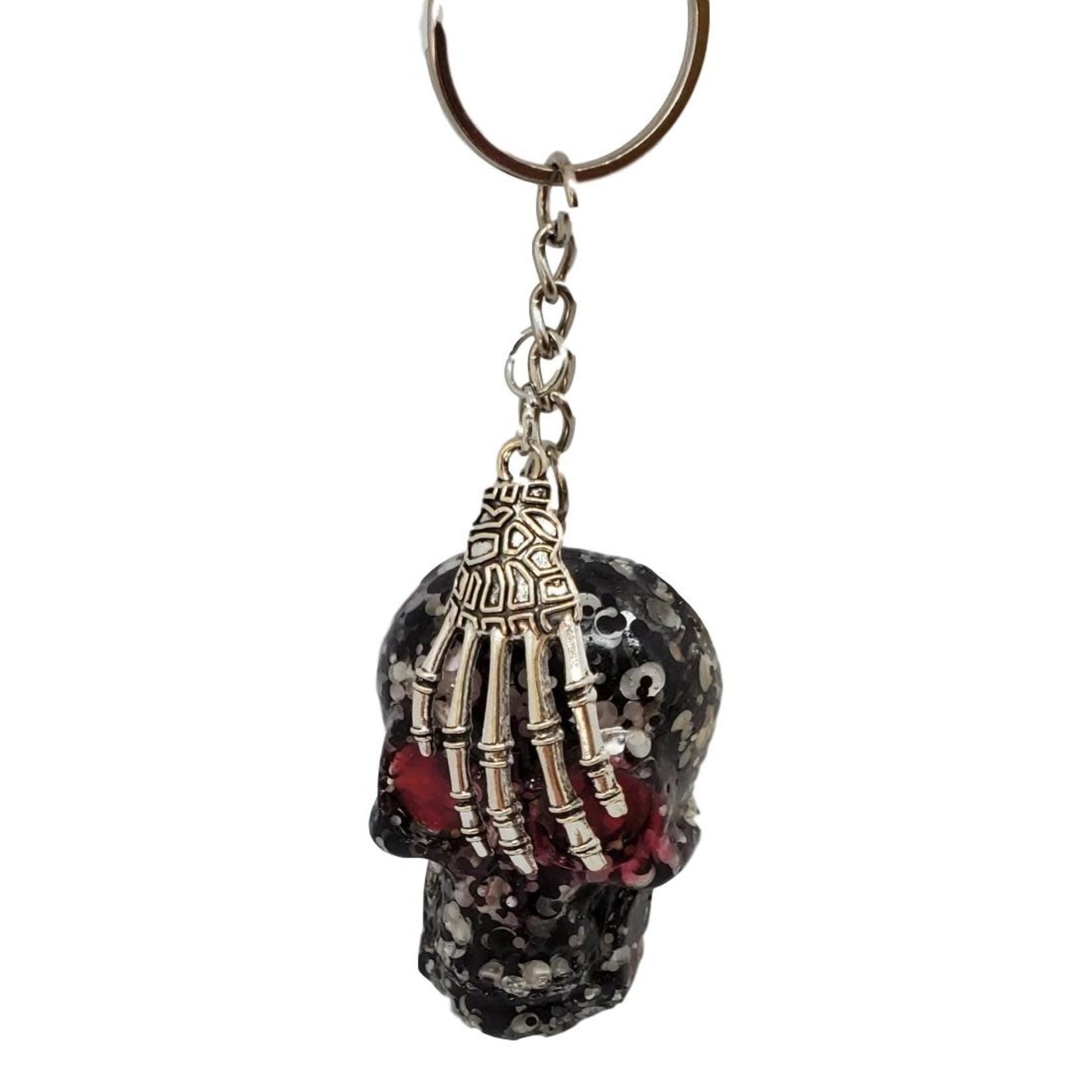 East Coast Sirens Black & White Skull Key Chain