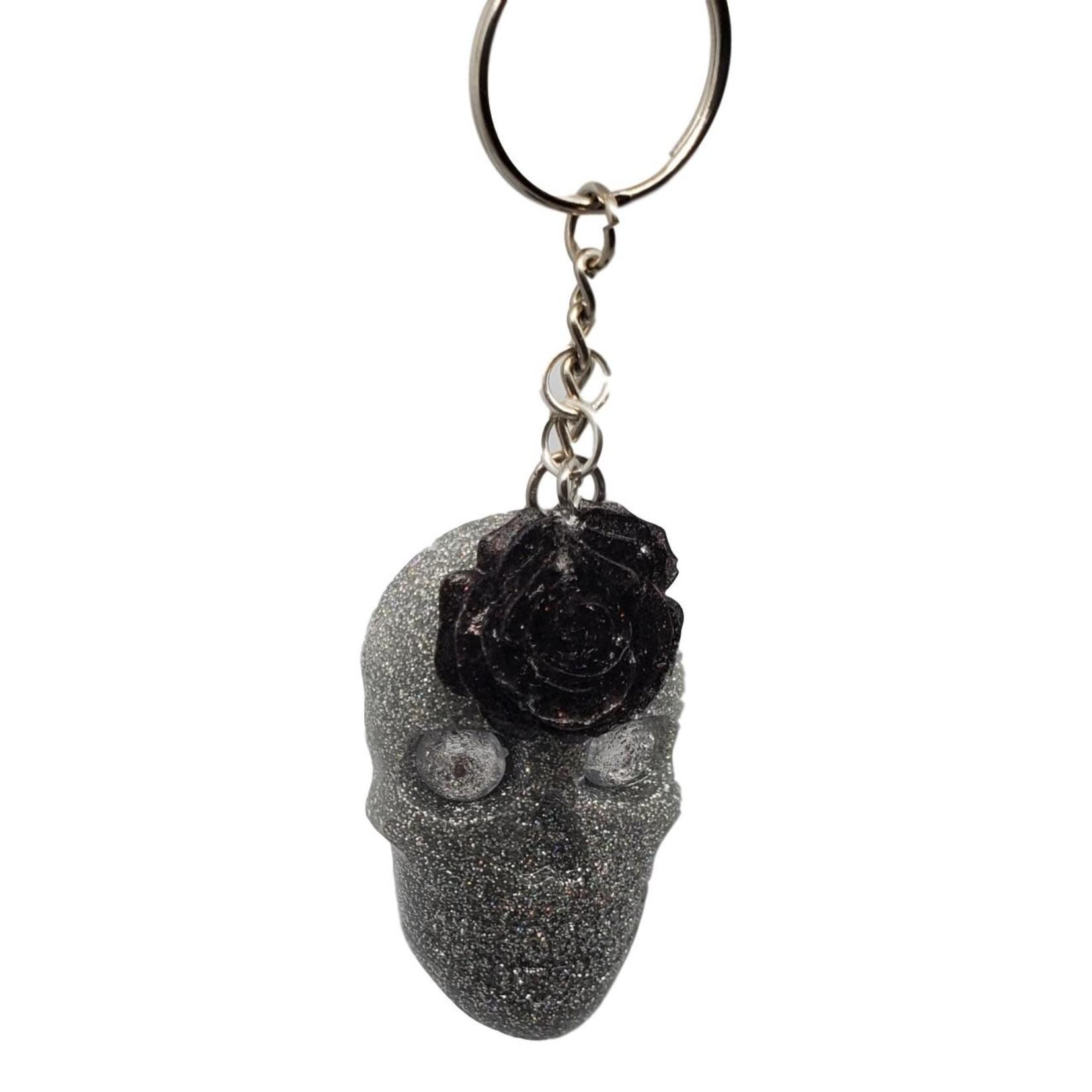 East Coast Sirens Silver Glitter Skull and Black Rose Key Chain