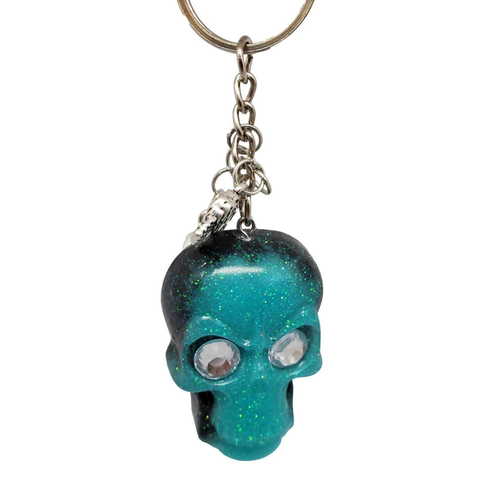 East Coast Sirens Black & Teal Skull Keychain