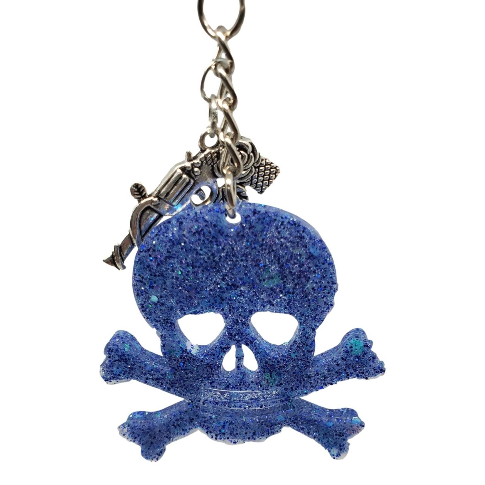 East Coast Sirens Blue Iridescent Glitter Skull & Crossbones Key Chain