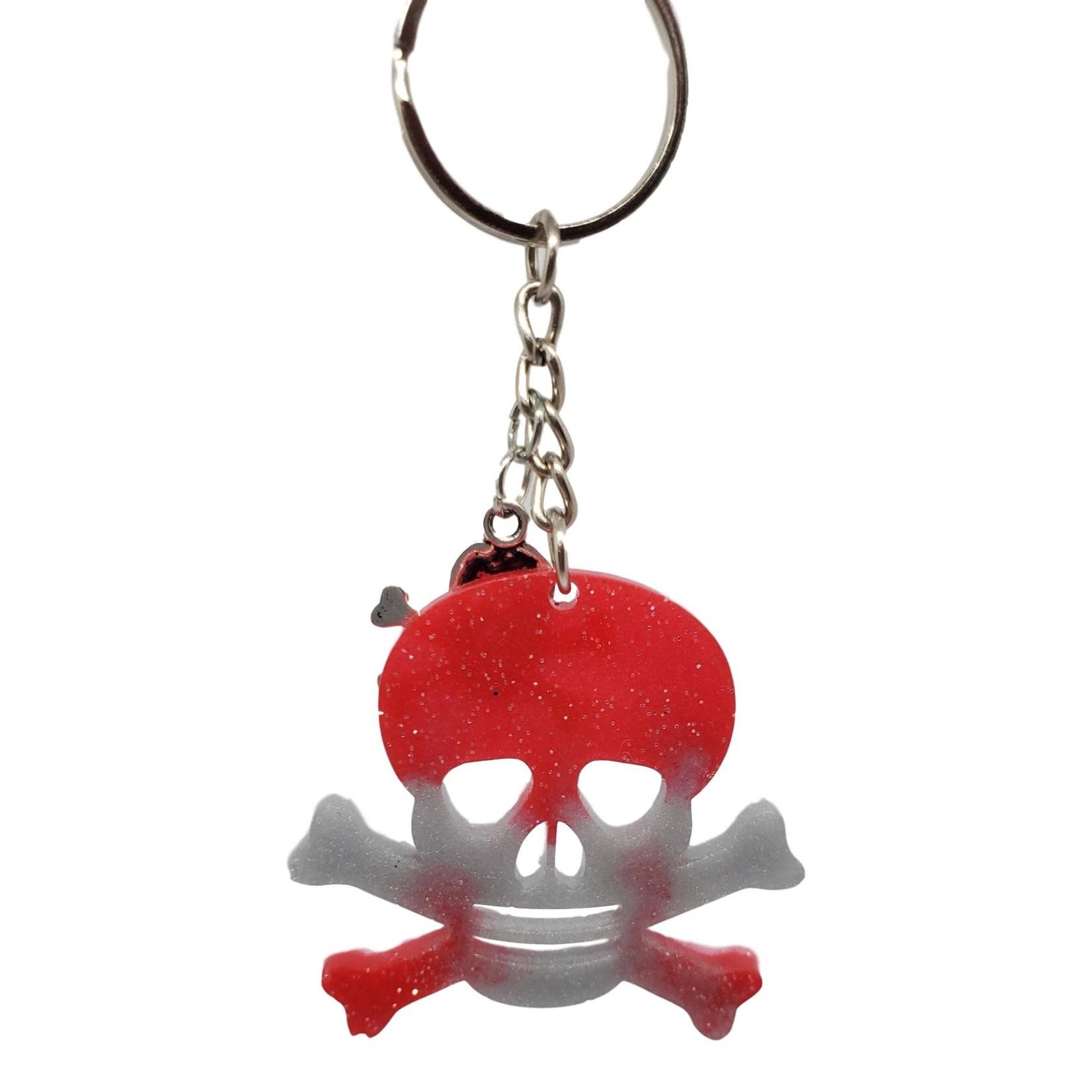 East Coast Sirens Red & Grey Skull Key Chain