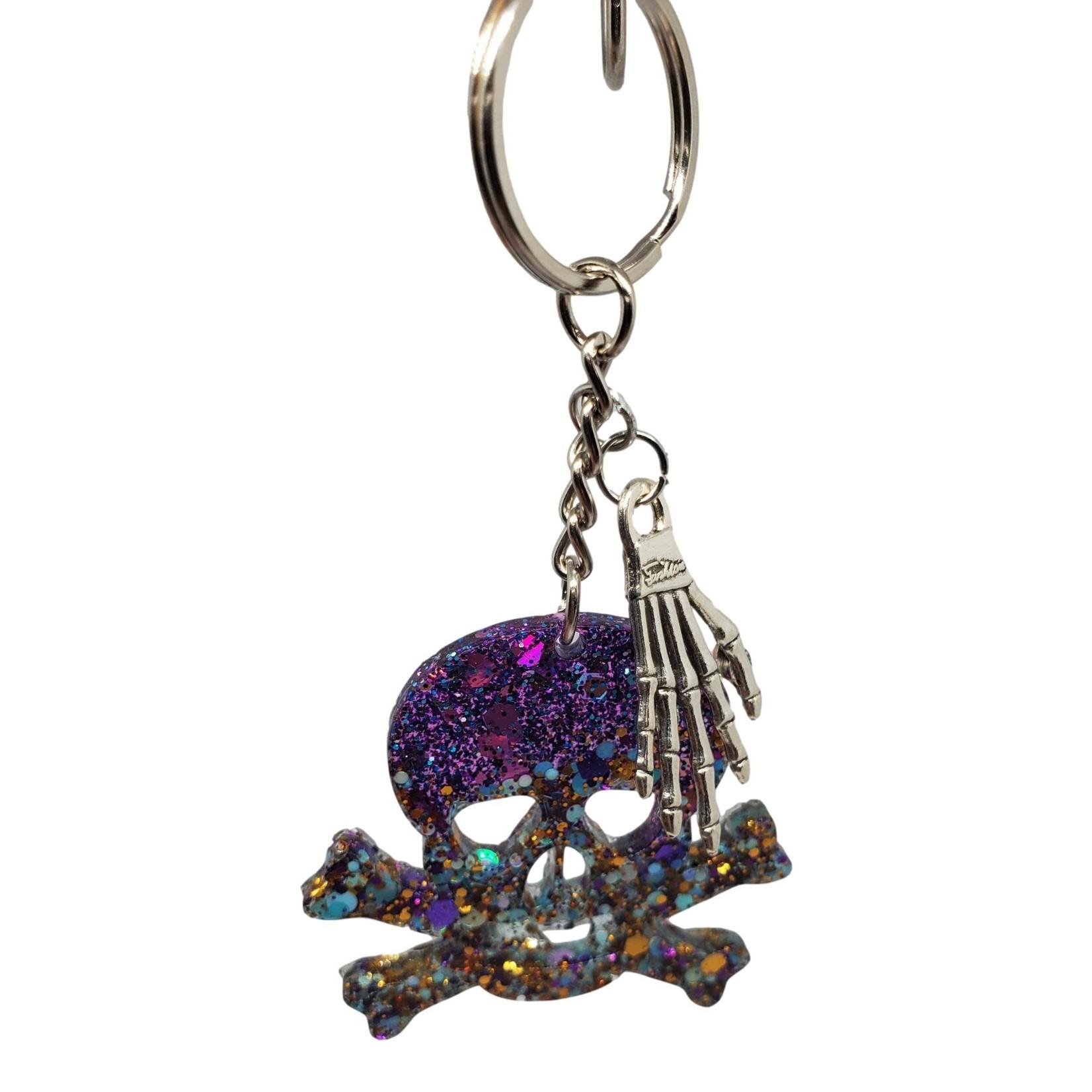 East Coast Sirens Purple Glitter Skull & Crossbones Keychain