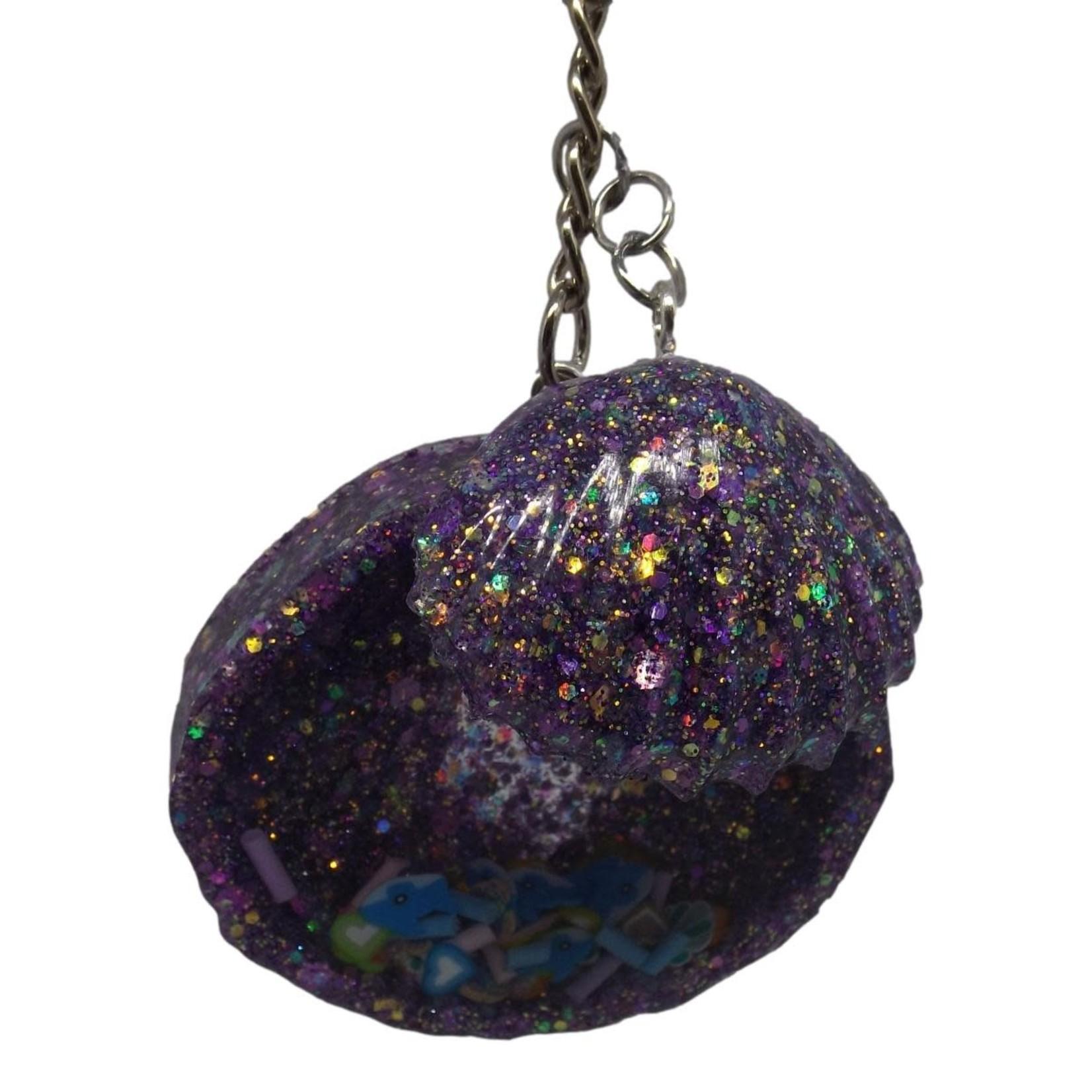 East Coast Sirens Purple Shaker Scallop Shells Keychain