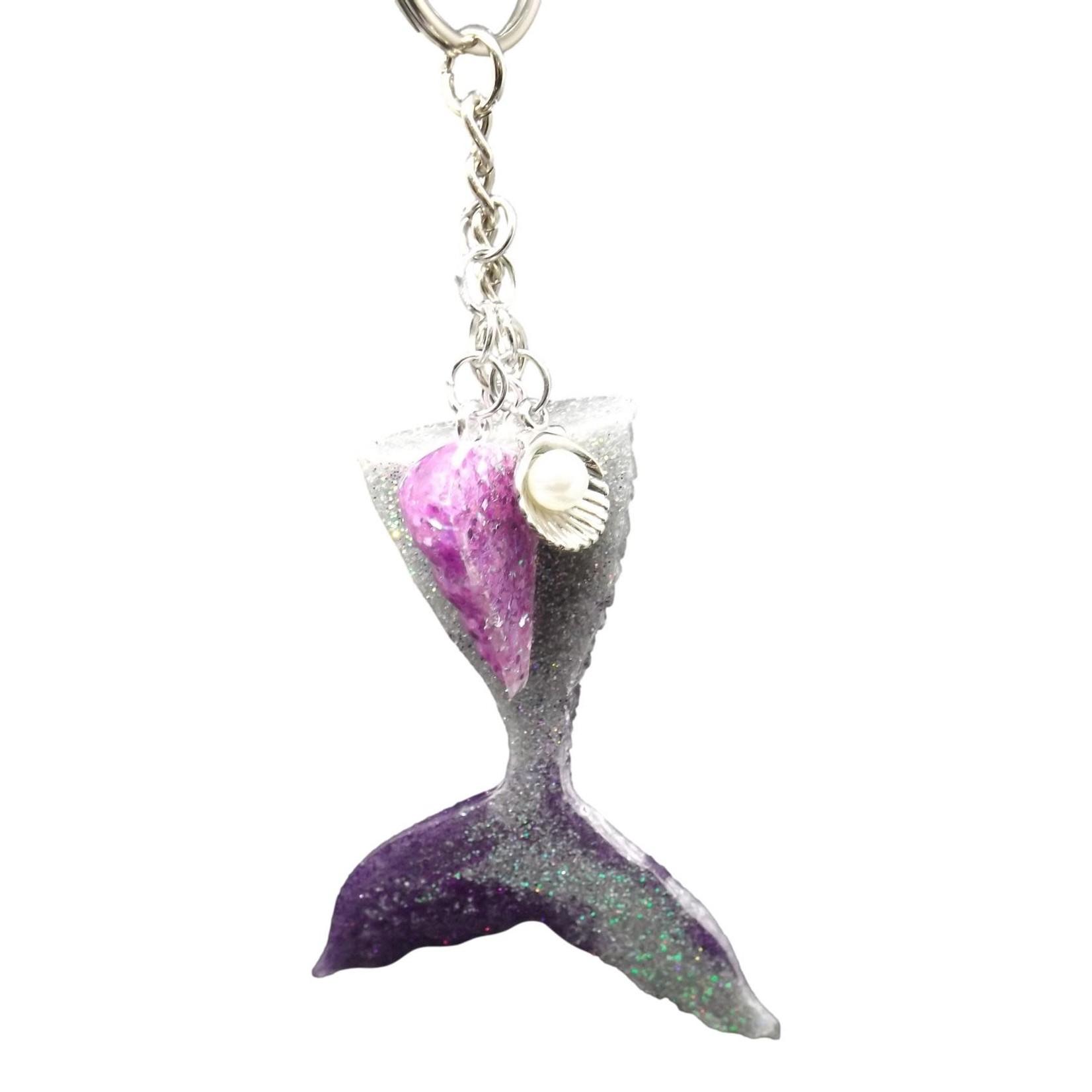 East Coast Sirens Silver & Purple Mermaid Tail Keychain