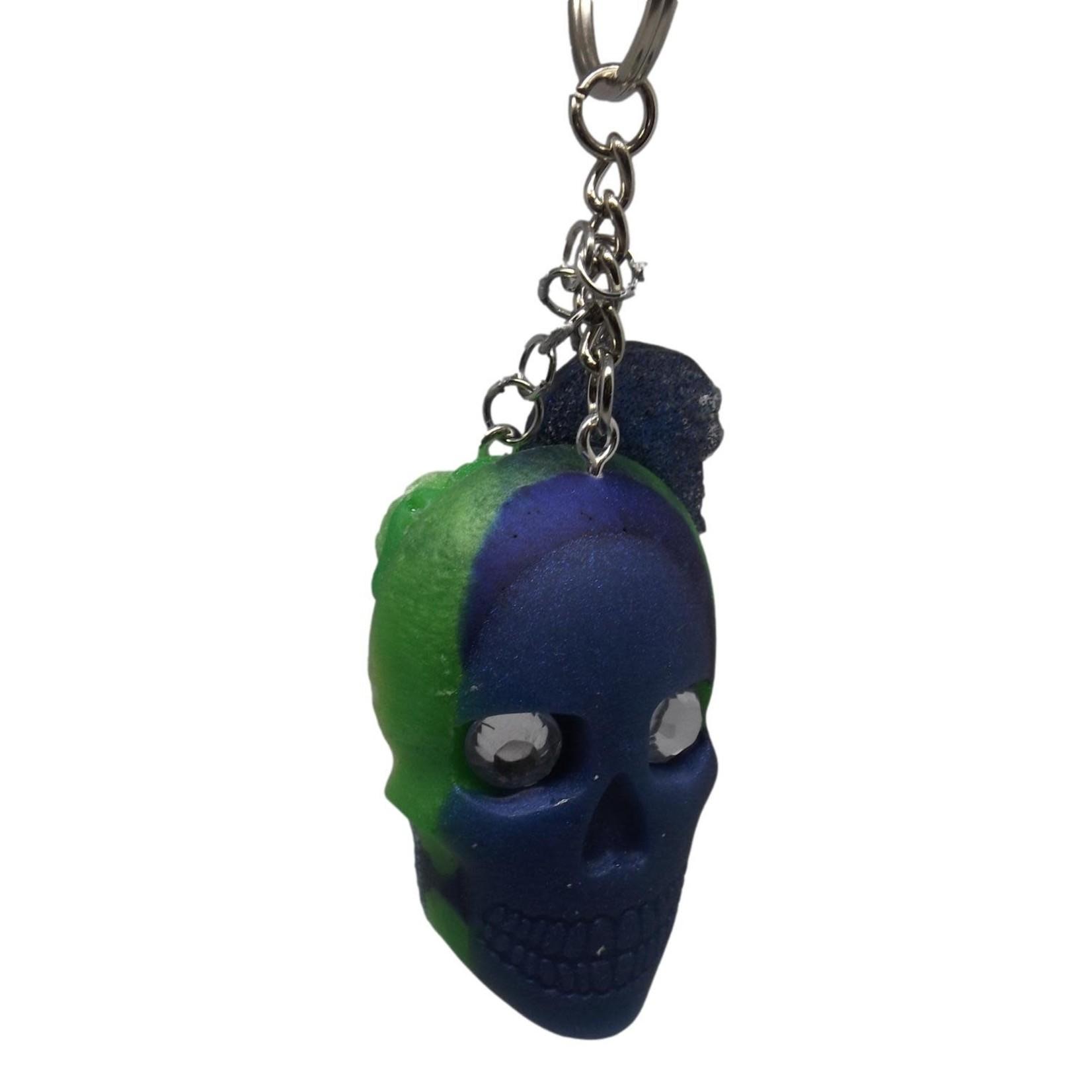 East Coast Sirens Blue & Green Skull Keychain