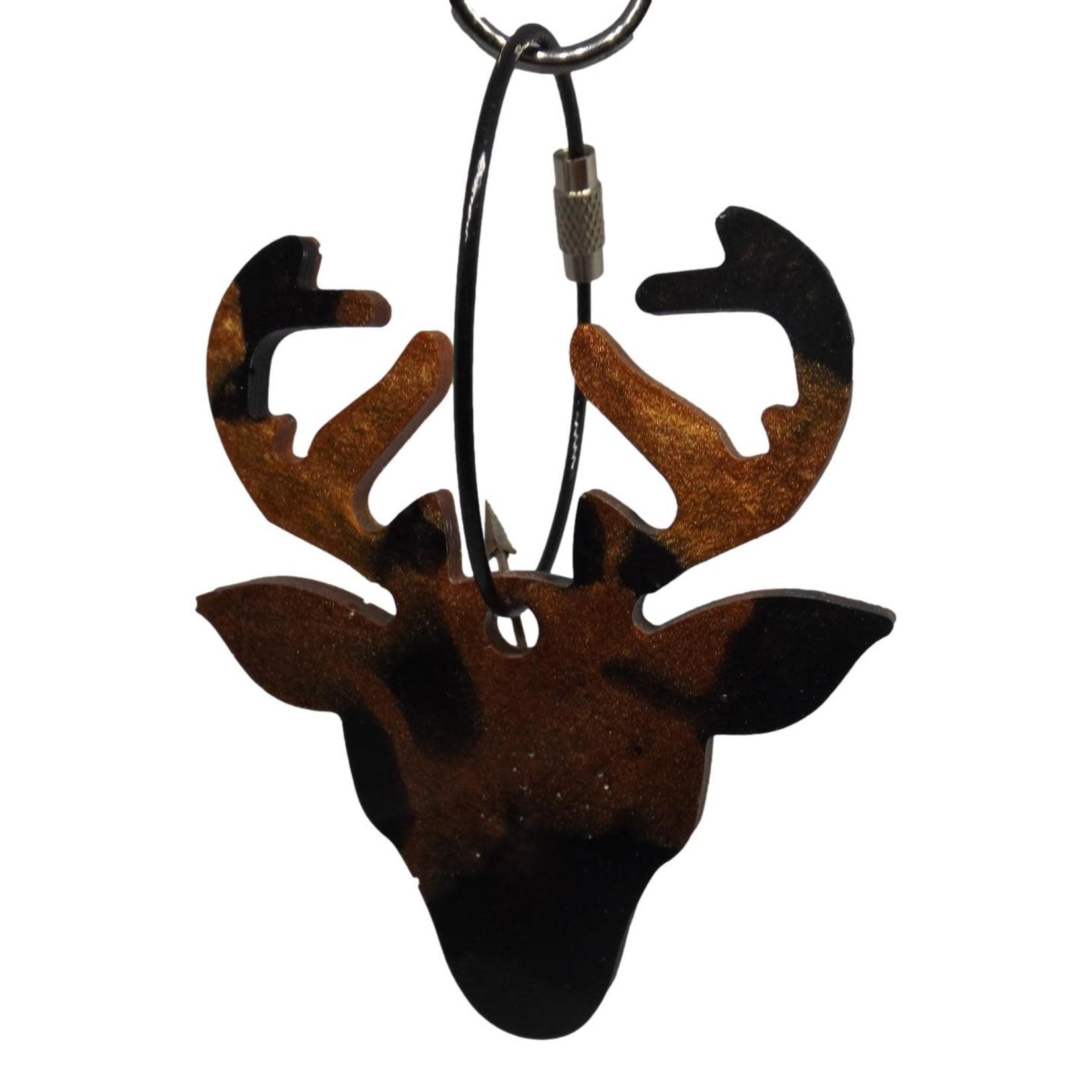 East Coast Sirens Black & Brown Deer Head Keychain