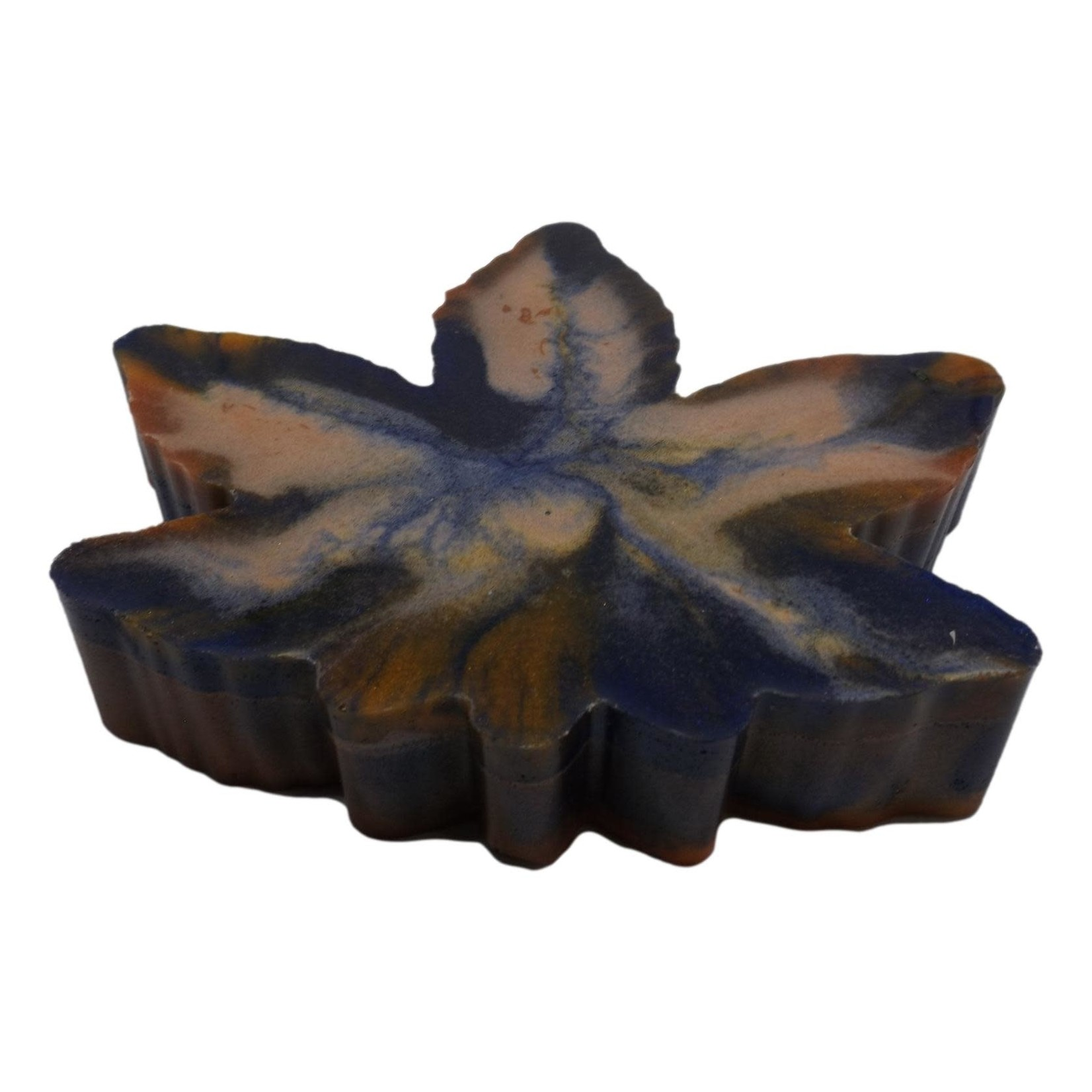 East Coast Sirens Blue Orange Swirl Pot Leaf Resin Ashtray