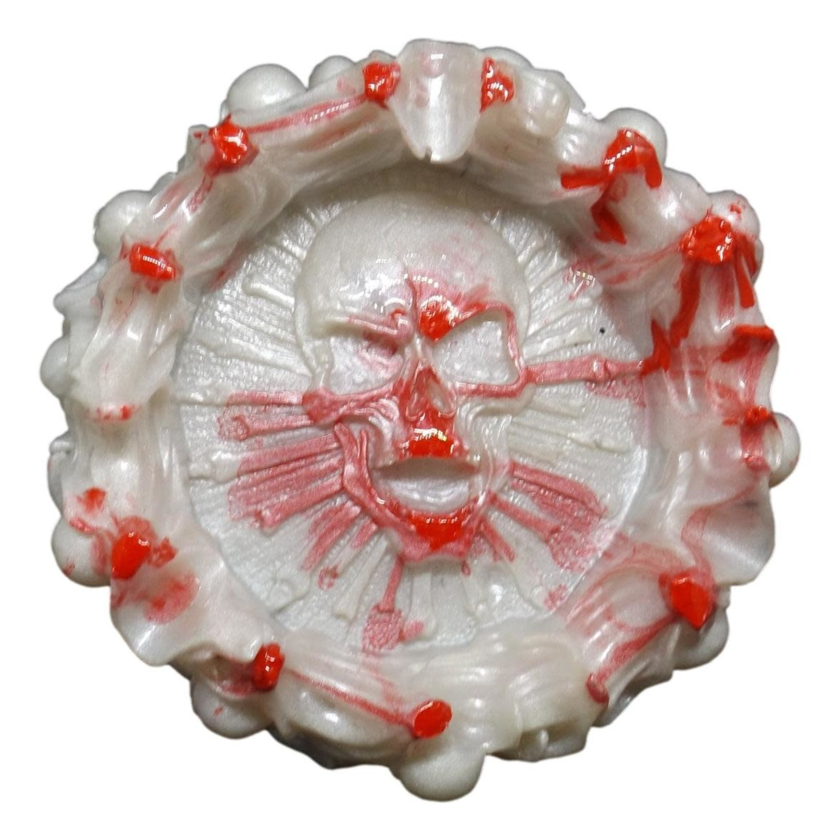 East Coast Sirens Skull Resin Ashtray - White with Blood