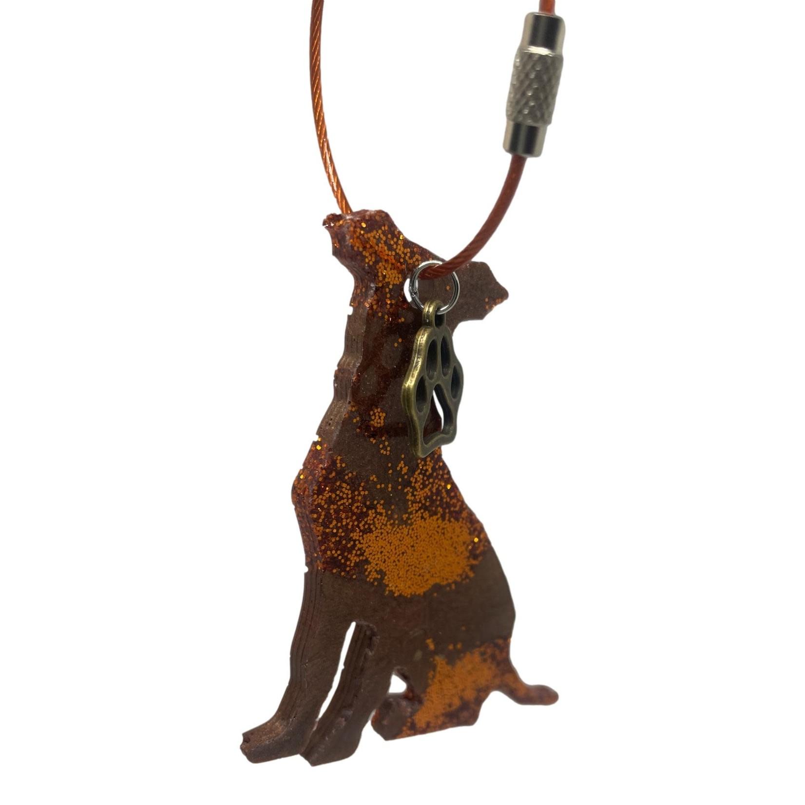 East Coast Sirens Brown & Copper Dog Key Chain