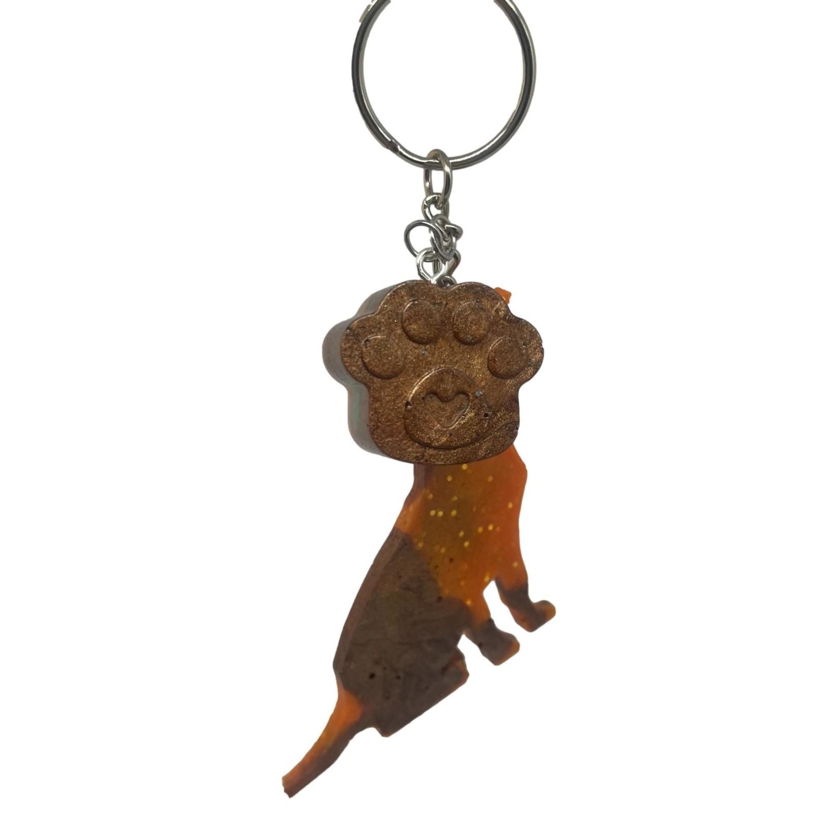 East Coast Sirens Orange & Brown Dog Keychain