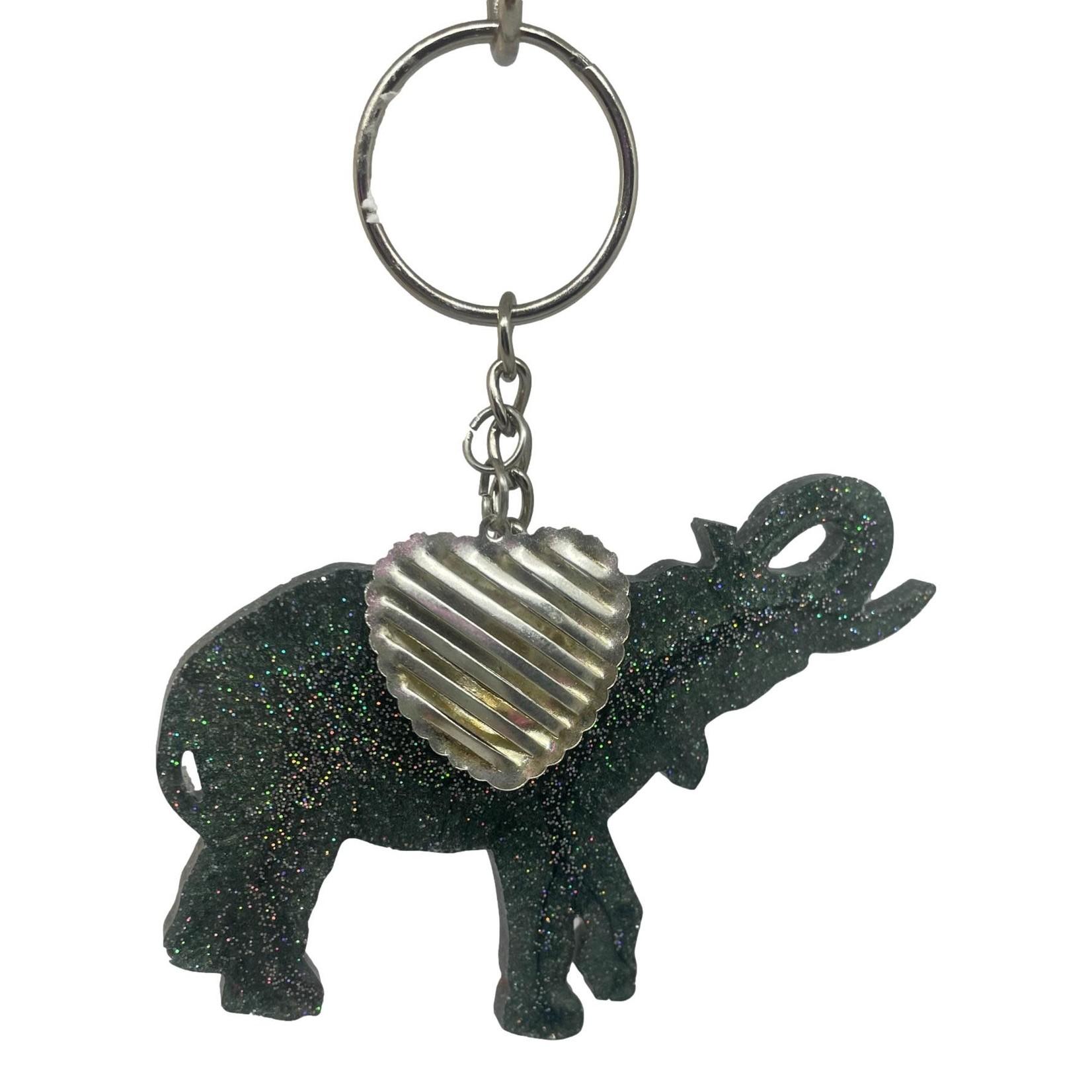 East Coast Sirens Grey Sparkling Elephant Keychain