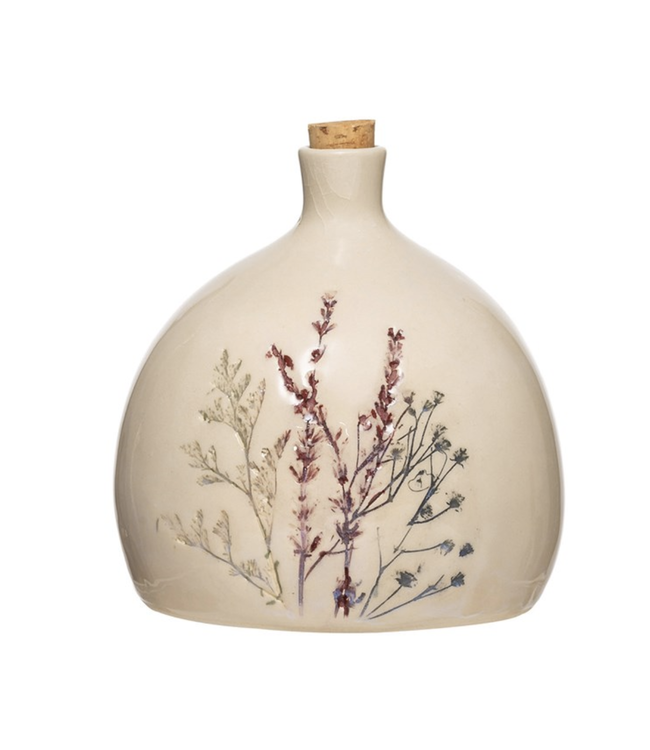 Creative Co-Op 32 OZ. Stoneware Debossed Floral Bottle w/Cork Stopper