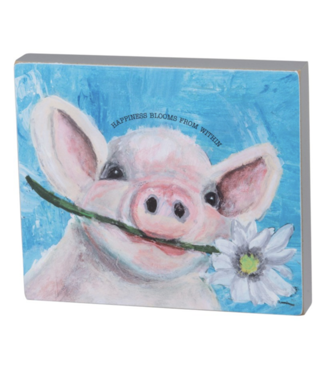 Primitives By Kathy Block Sign - Happiness Blooms From Within