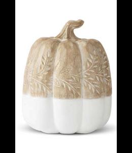 K&K Interiors Tan & White Resin Pumpkin w/Carved Leaves- Large