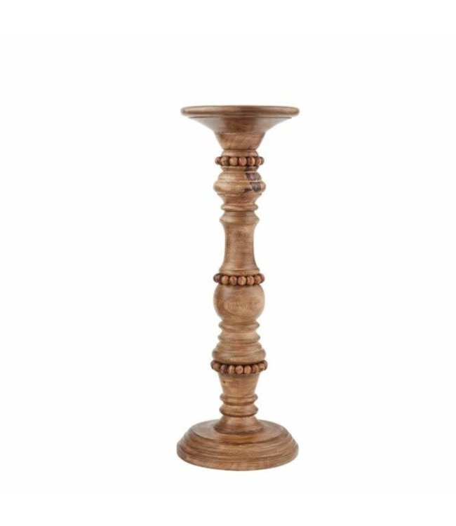 "MudPie Beaded Wood Candlestick 15"""