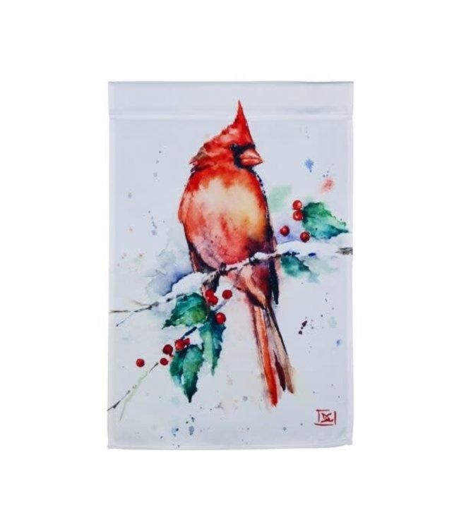 Evergreen Cardinal and Holly Garden Satin Flag