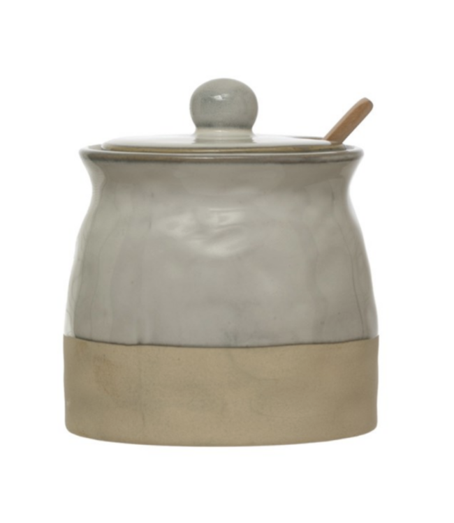 Creative Co-Op Stoneware Sugar Pot with Lid & Wood Spoon, Reactive Glaze White