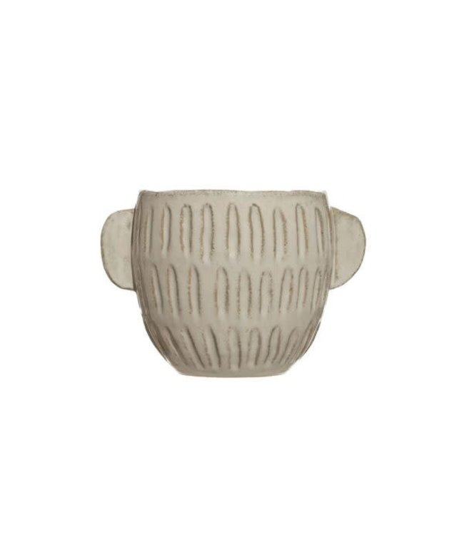 """Creative Co-Op 9-1/2"""" Round x 6-1/2""""H Embossed Stoneware Planter, Reactive Glaze, White (Holds 7"""" Pot)"""