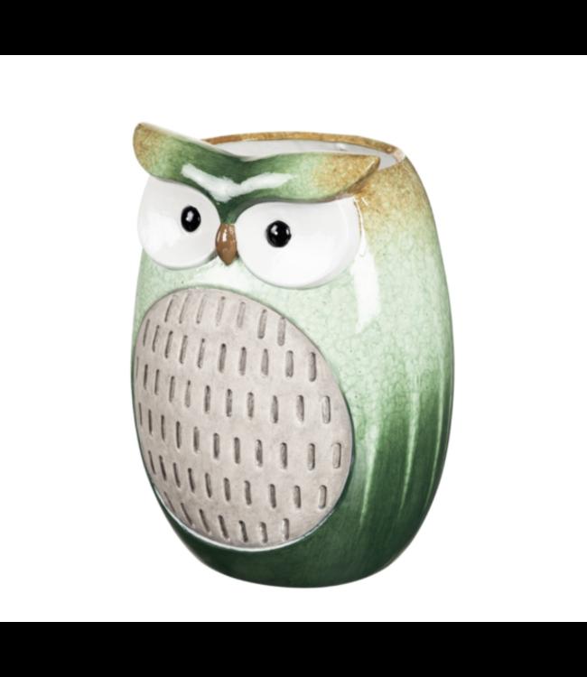 Evergreen Green Glazed Ceramic Owl Planter