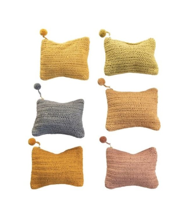 Creative Co-Op Handmade Cotton Crocheted Lens Zip Pouch w/ Pom Pom, 6 Colors