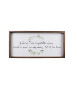 Youngs Wood Framed Happy Home Wall Sign