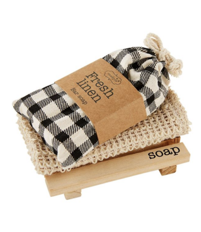 MudPie Soap Dish And Cloth Set